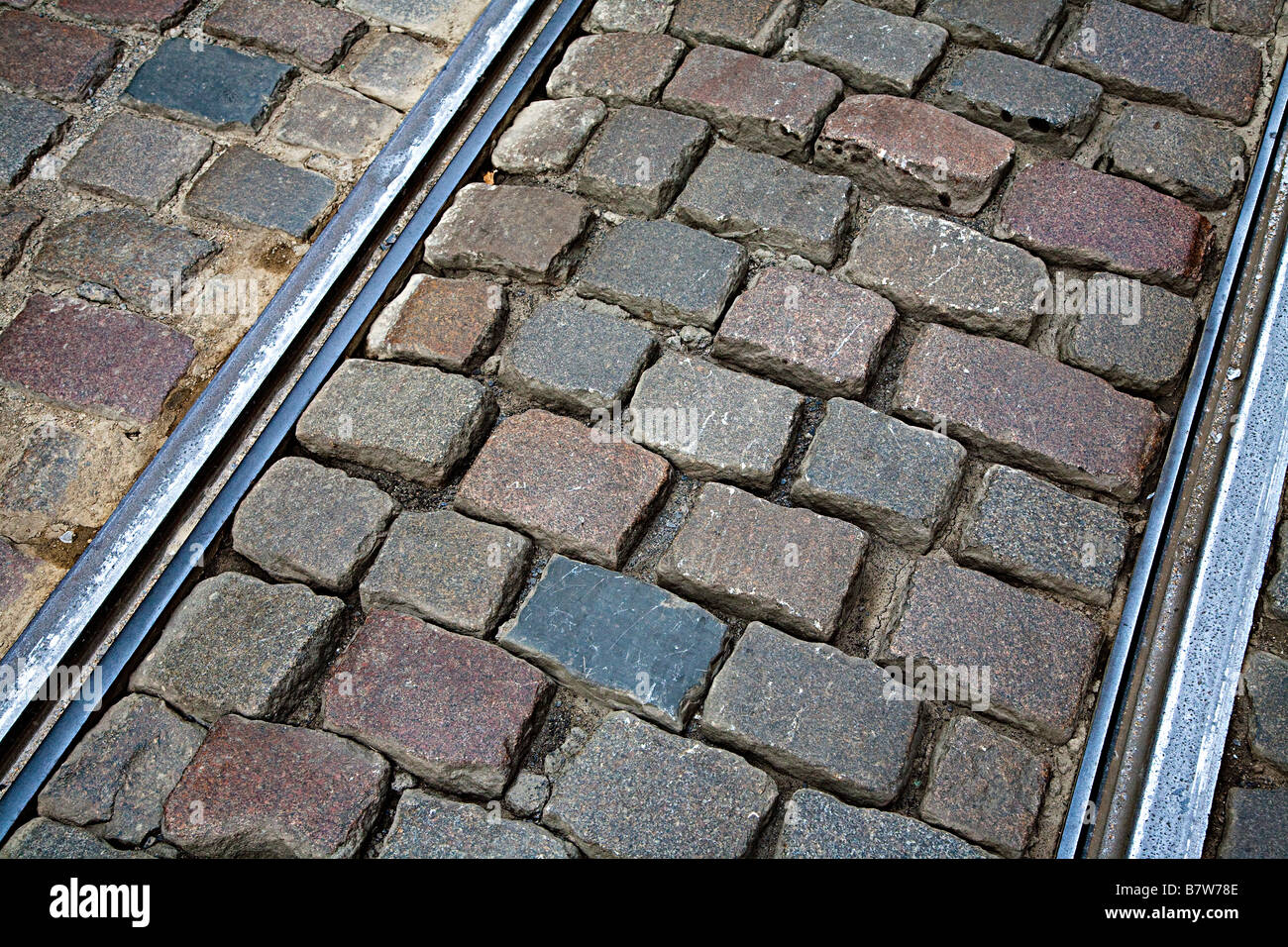 Close up of tram rails in old stone street Ghent Belgium - Stock Image