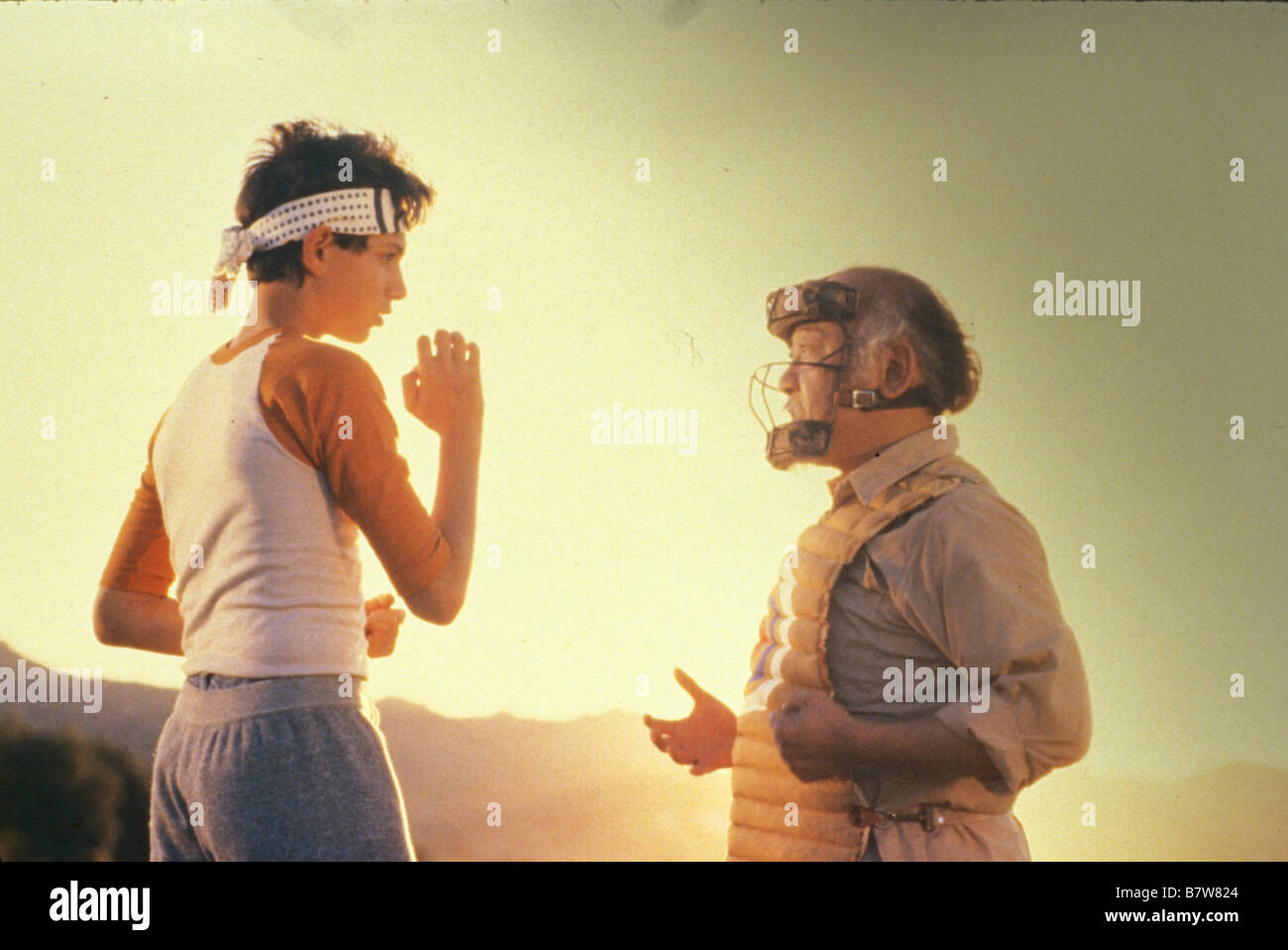 The Karate Kid Year: 1984 USA Ralph Macchio, Pat Morita  Director: John G. Avildsen - Stock Image