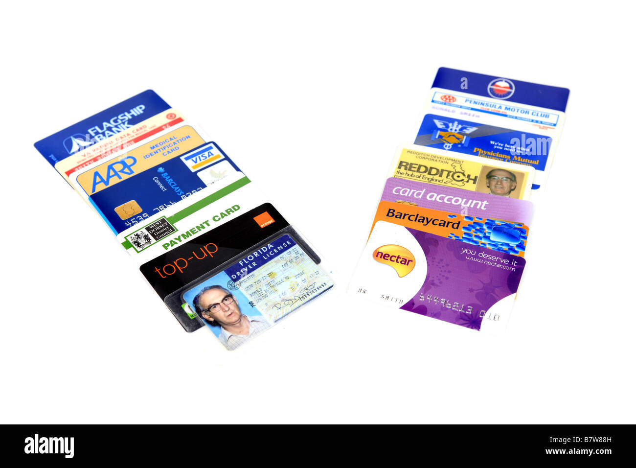 A selection of Credit debit and Charge cards and ID cards - Stock Image