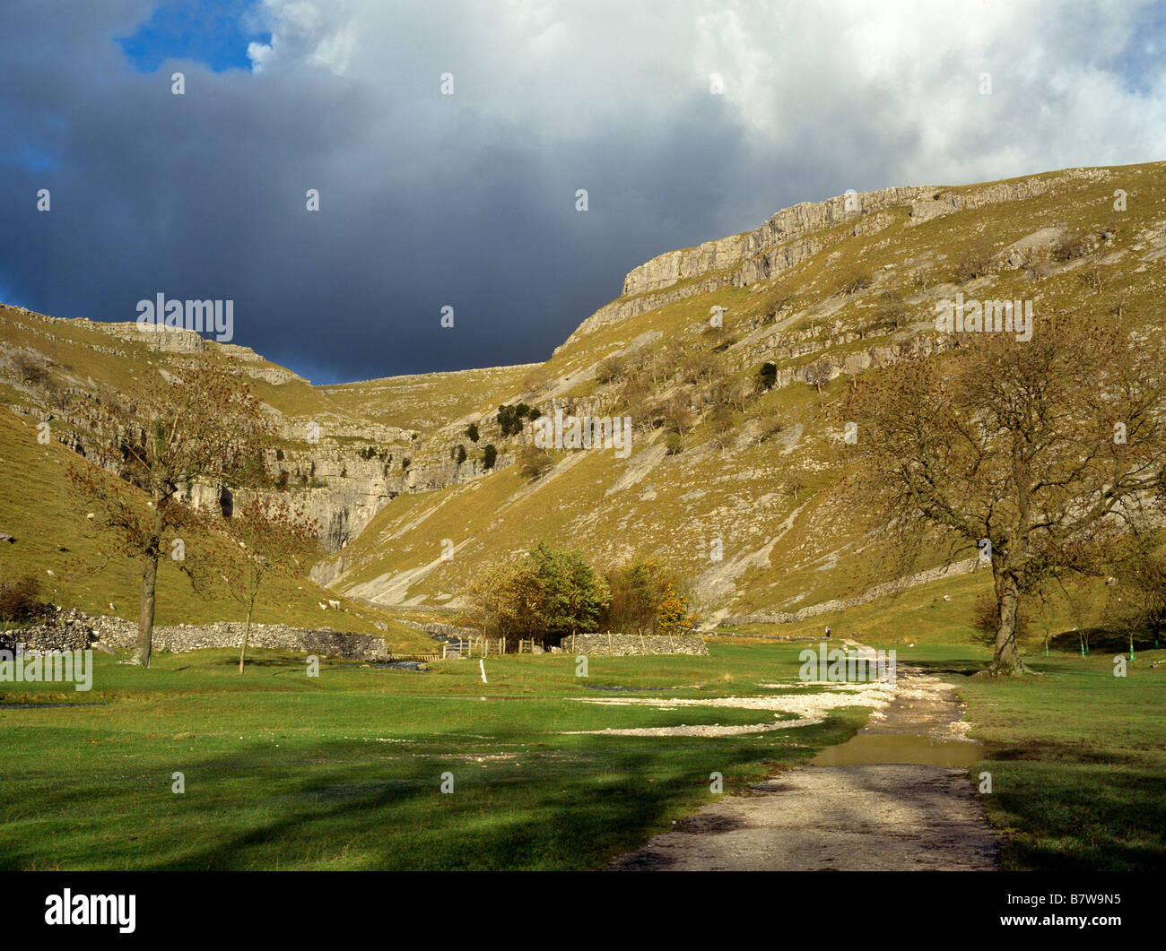Gordale Scar and footpath damaged by flood N Yorks UK - Stock Image
