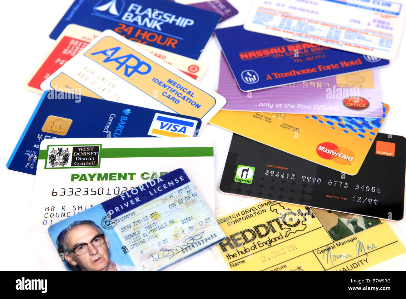 A selection of Credit cards Charge cards and ID cards - Stock Image