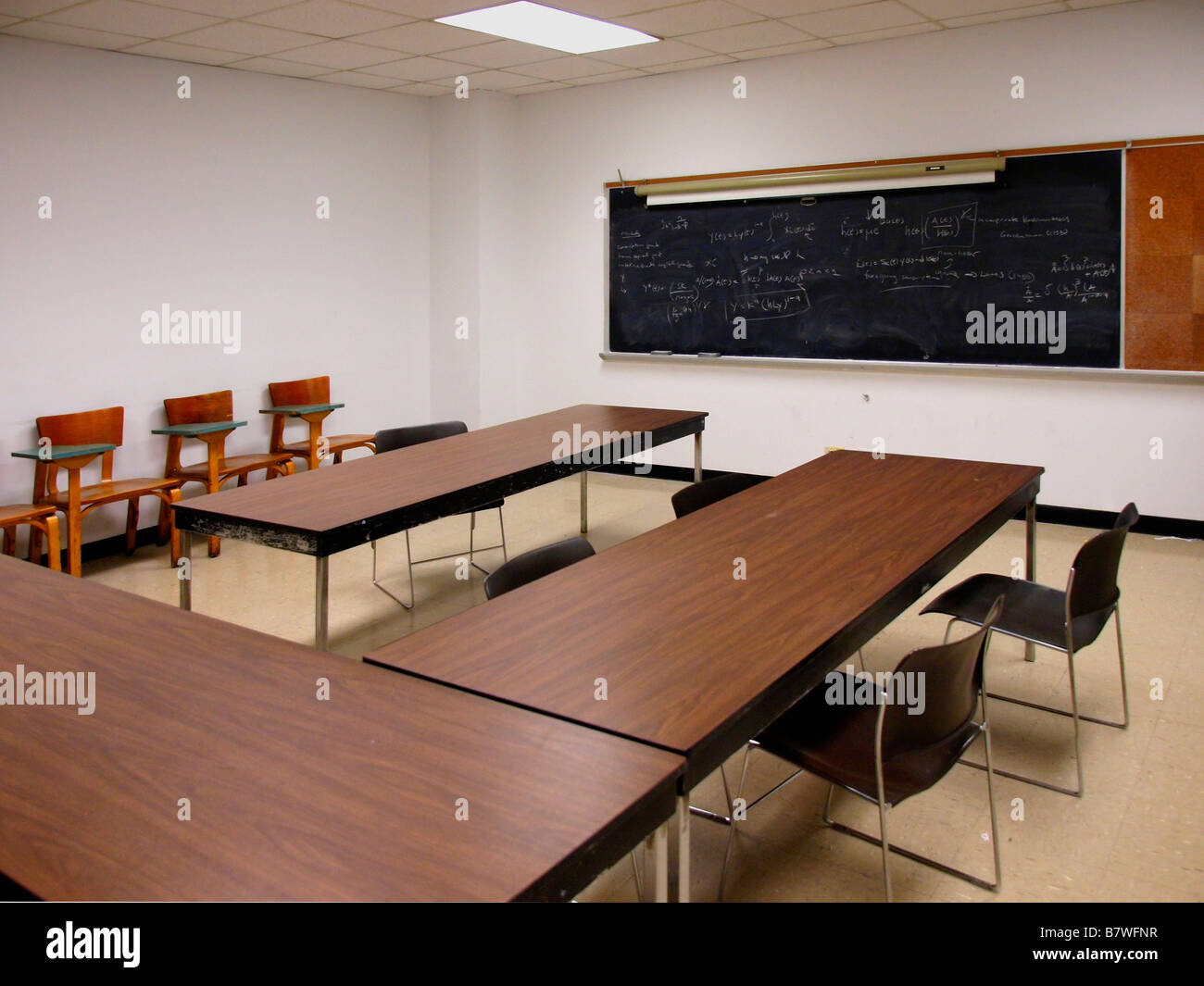 Picture of: Tables Chairs And Desk Chairs In An Empty Classroom With An Old Stock Photo Alamy