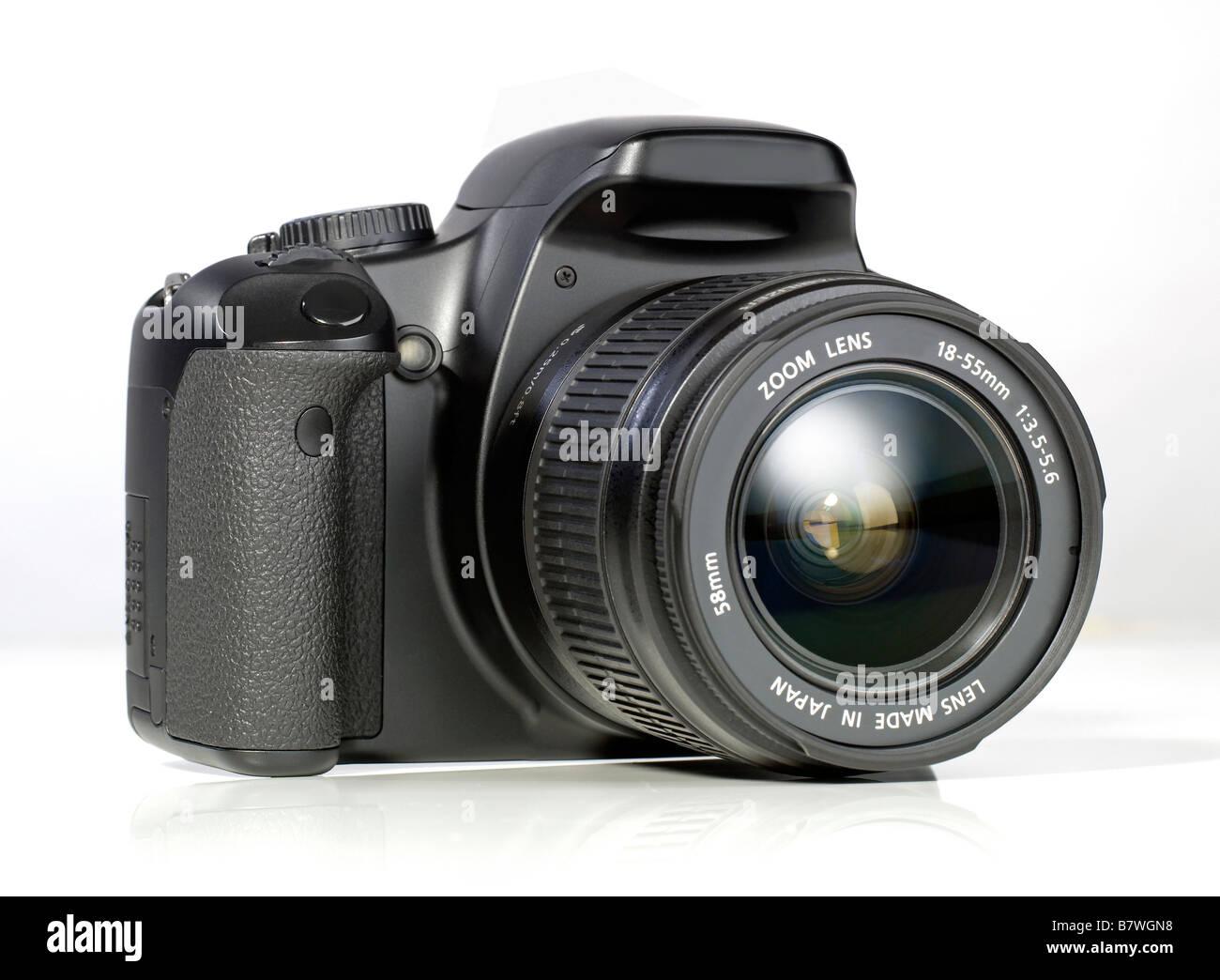 Black digital DSLR camera single lens reflex - Stock Image
