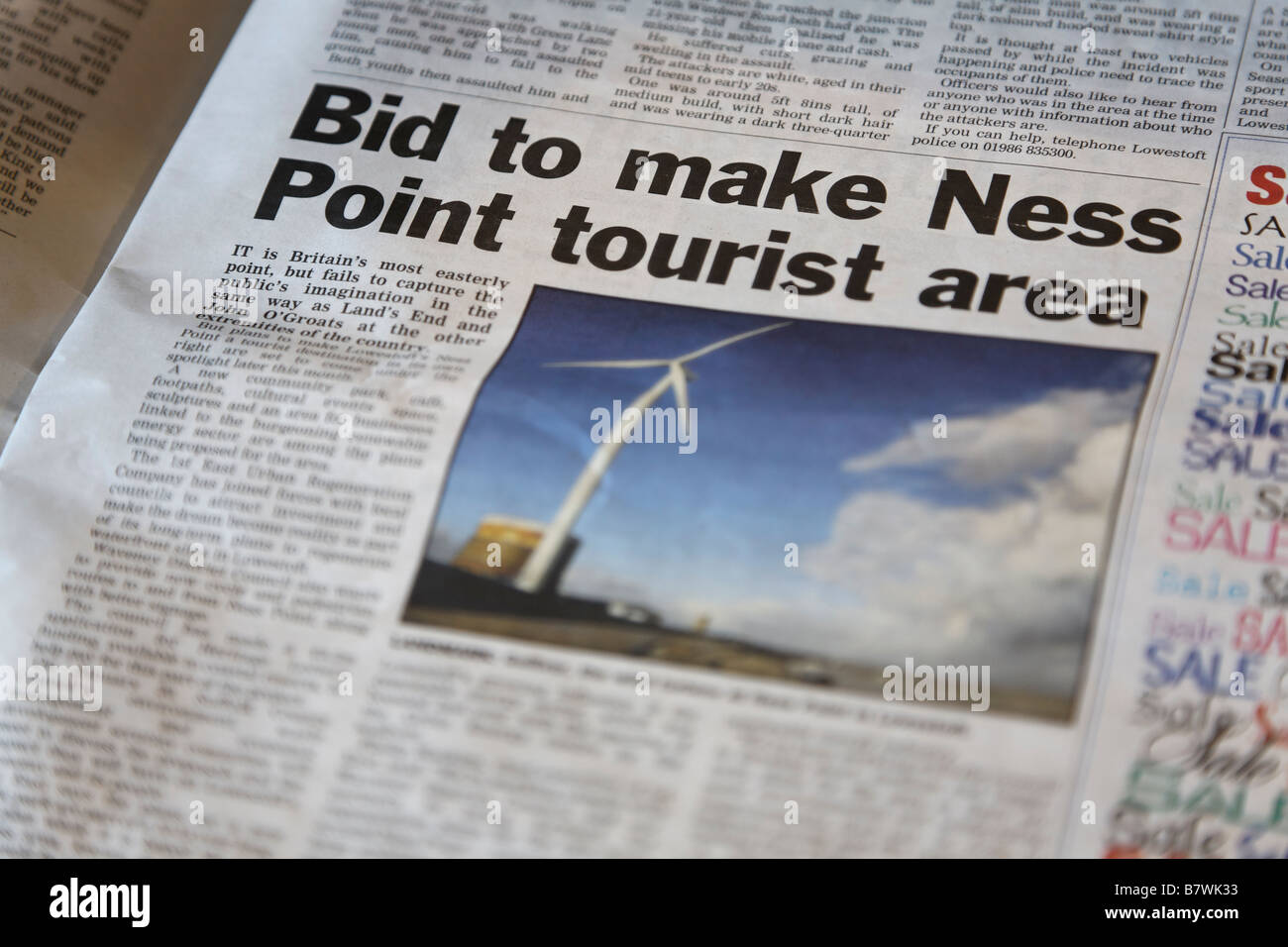 Lowestoft Journal newspaper article about making Ness Point a tourist area Suffolk England - Stock Image