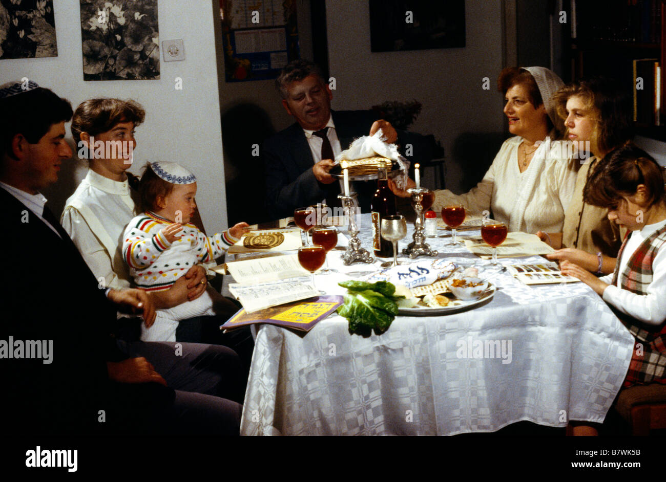 Israel Passover Seder Family Meal - Stock Image