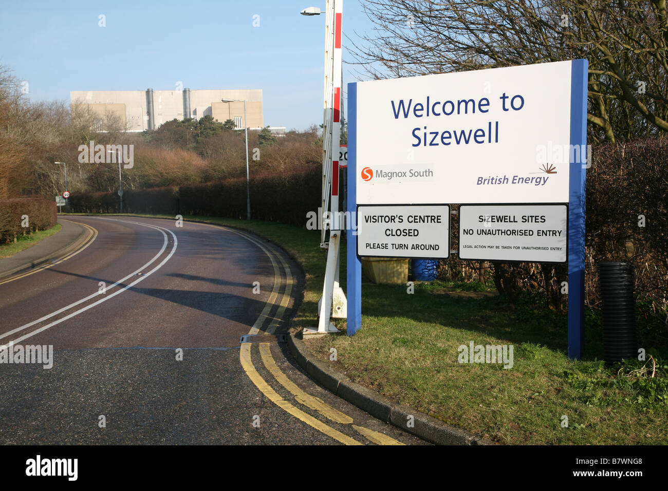 Entrance sign Sizewell nuclear power station Suffolk England - Stock Image