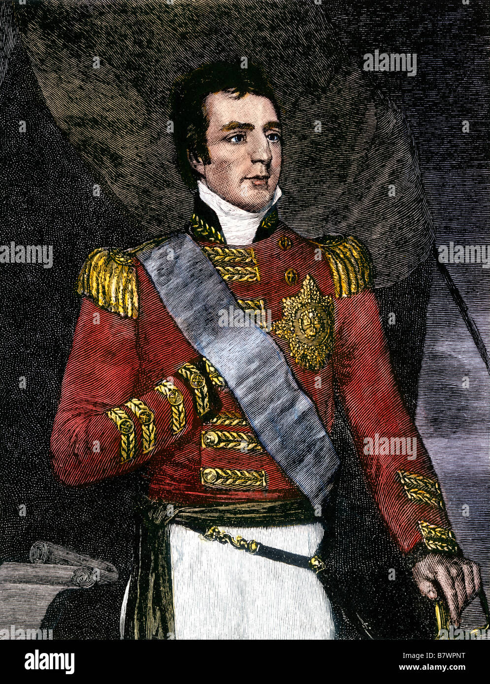 Major General Arthur Wellesley in 1806, later the Duke of Wellington. Hand-colored woodcut - Stock Image