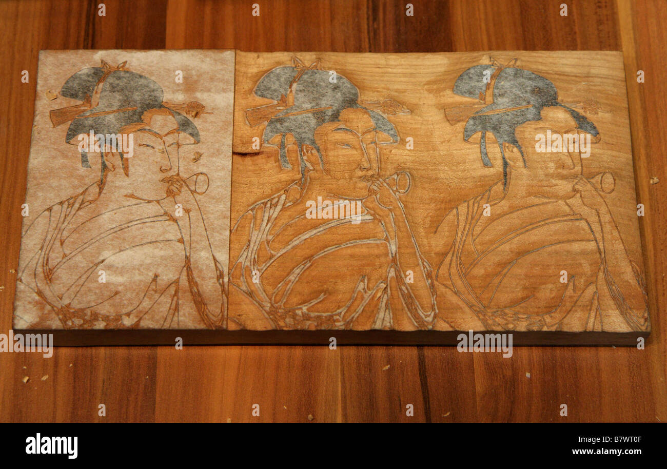 Original woodblock for Japanese print- Tokyo Day in London 2009 - Stock Image