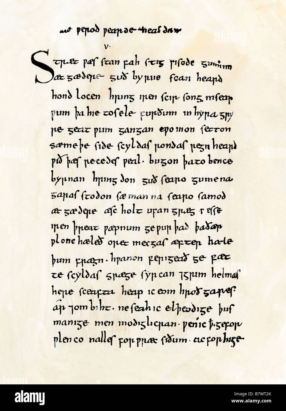 Page from the Old English manuscript of Beowulf in the British Museum. Woodcut with a watercolor wash - Stock Image