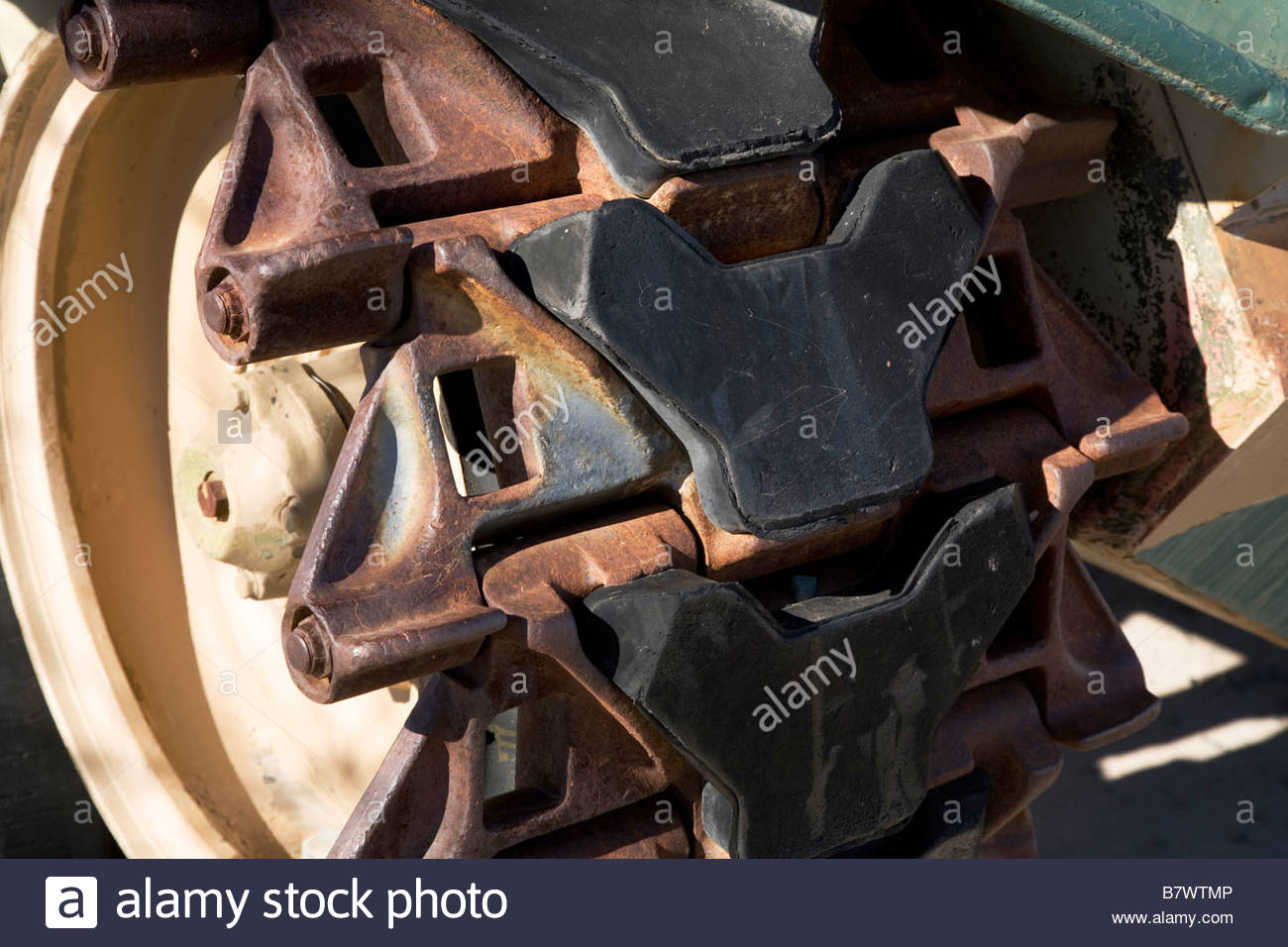 Detail of track old self propelled gun - Stock Image