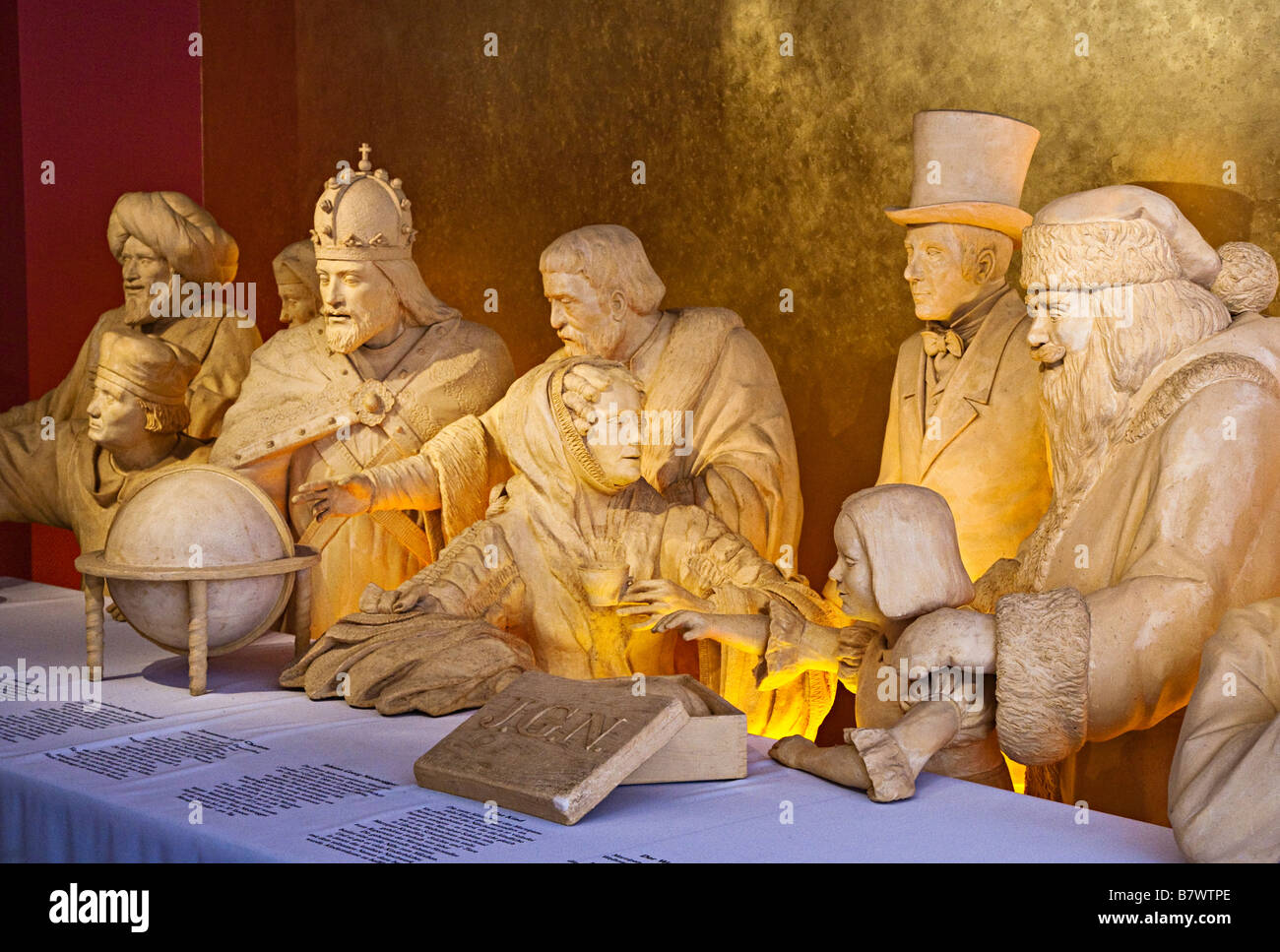 Tableau of figures made out of marzipan in the Marzipan salon Niederegger Lubeck Germany - Stock Image