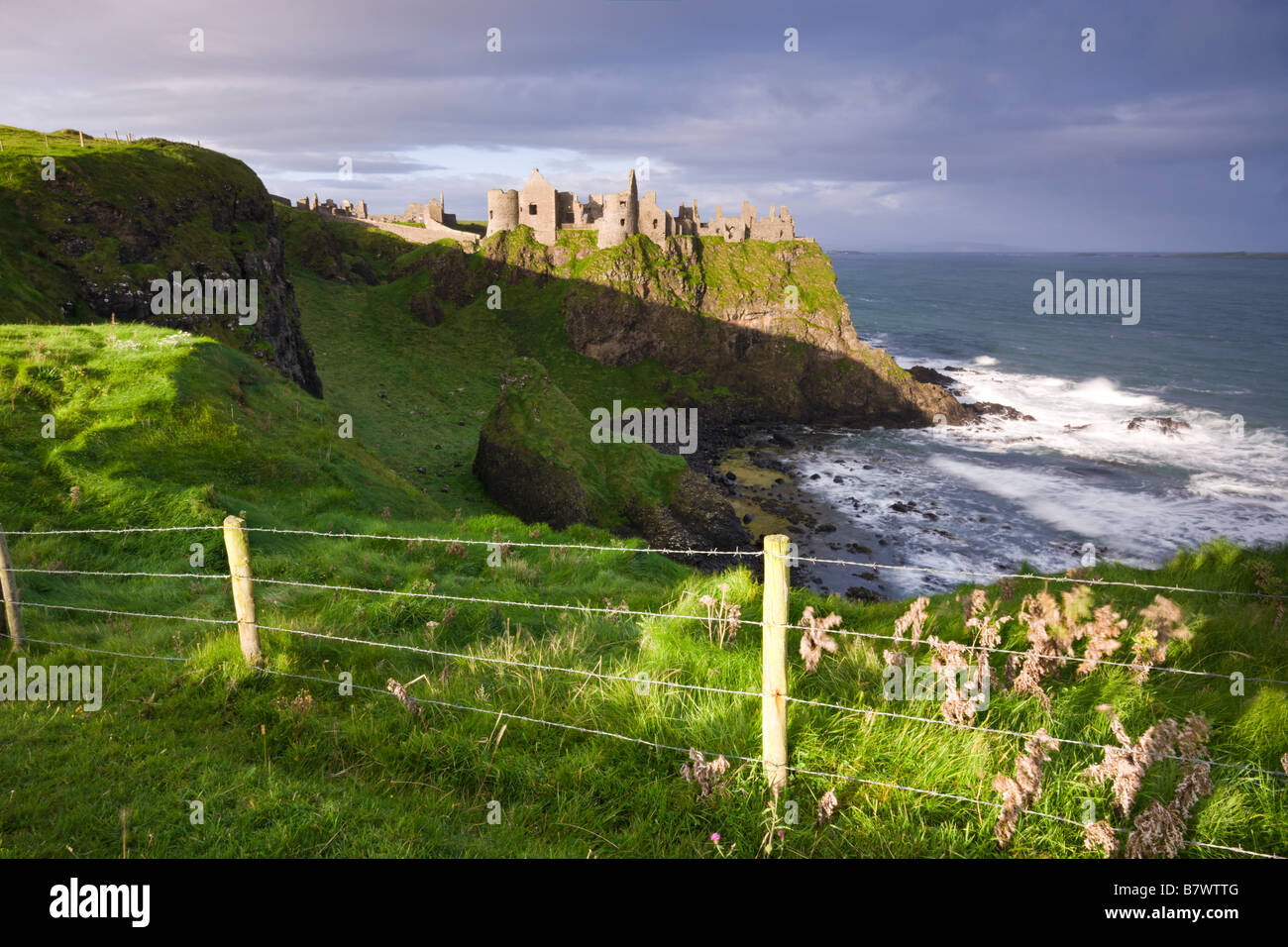 Dunluce Castle on the clifftops of County Antrim Northern Ireland - Stock Image