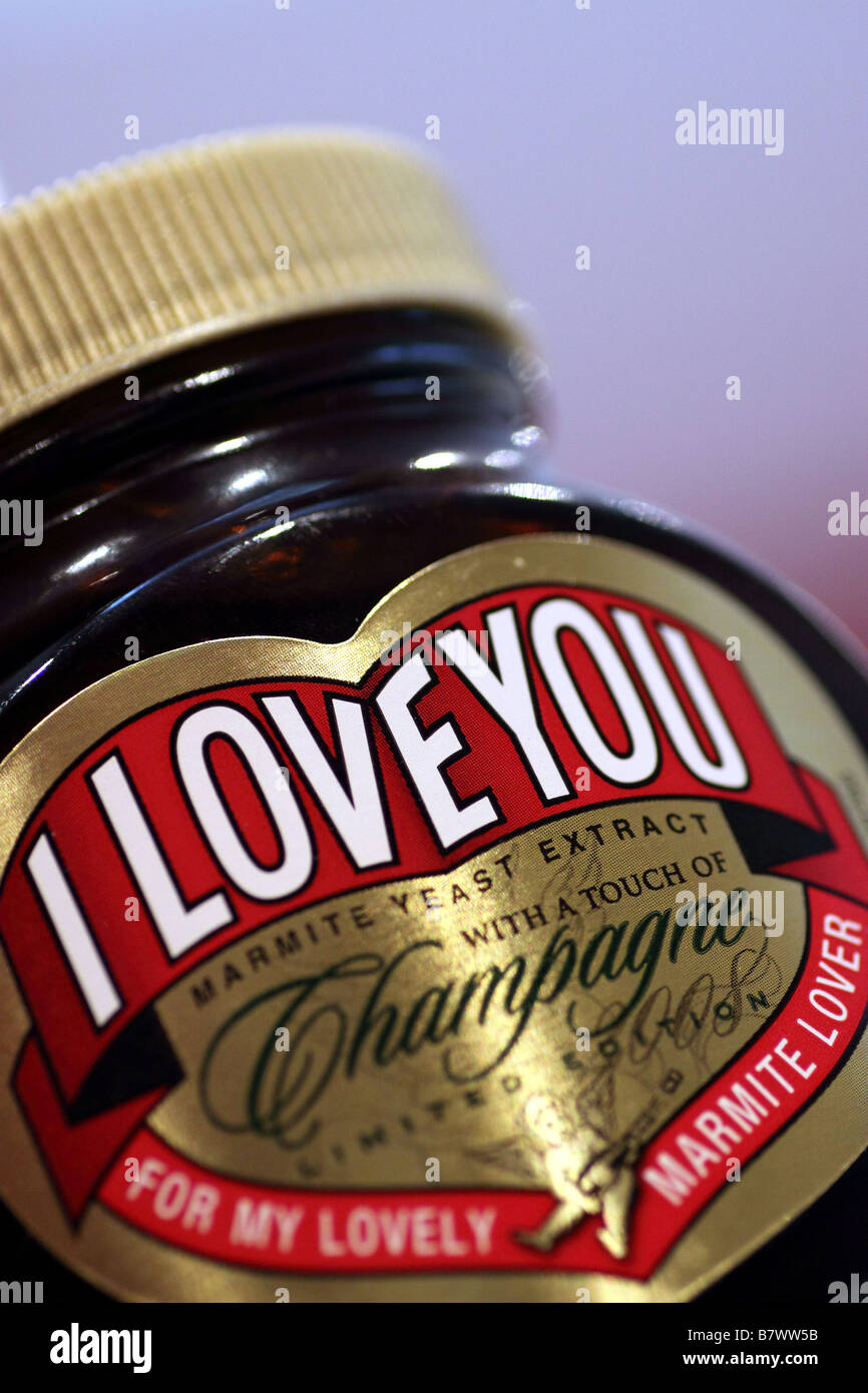 Limited Edition Jar of 'I LOVE YOU' Marmite containing Champagne. - Stock Image