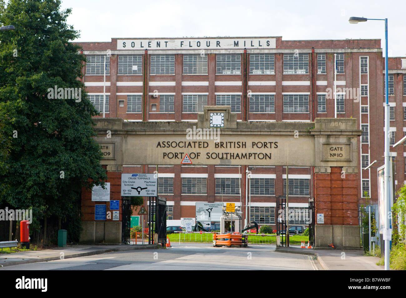 Port of Southampton dock gates and Solent Flour Mills building Southampton Hampshire England - Stock Image