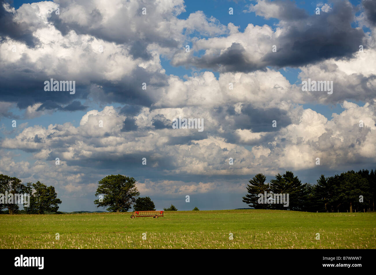 Clouds over a field in Southern Wisconsin - Stock Image