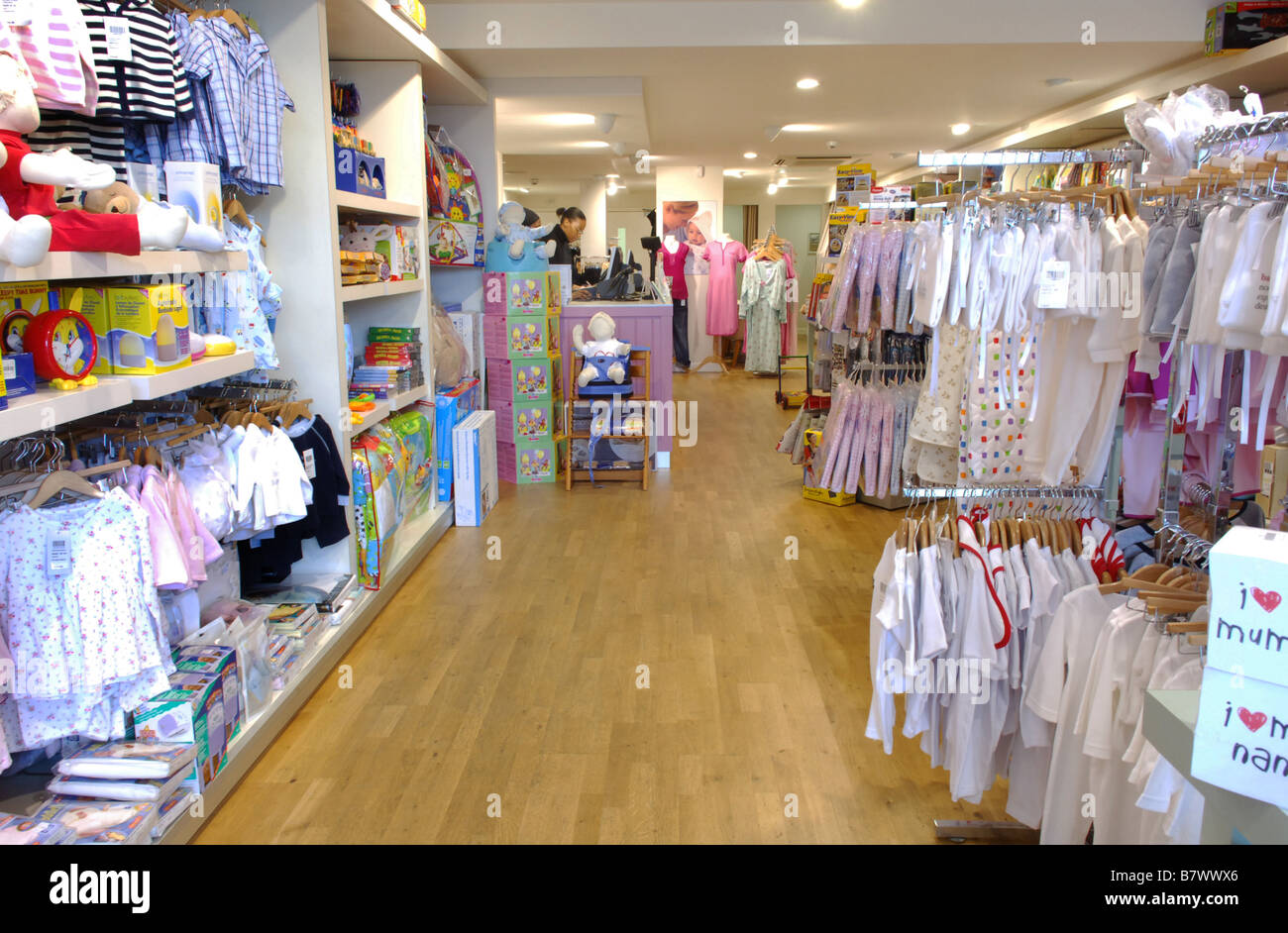 a4ee47a3815 Shelving and display racks stocked with baby clothing for sale in Blooming  Marvellous the maternity and baby shop.