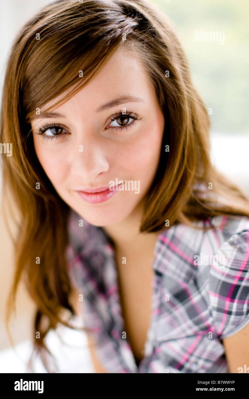 Portrait of brunette girl - Stock Image