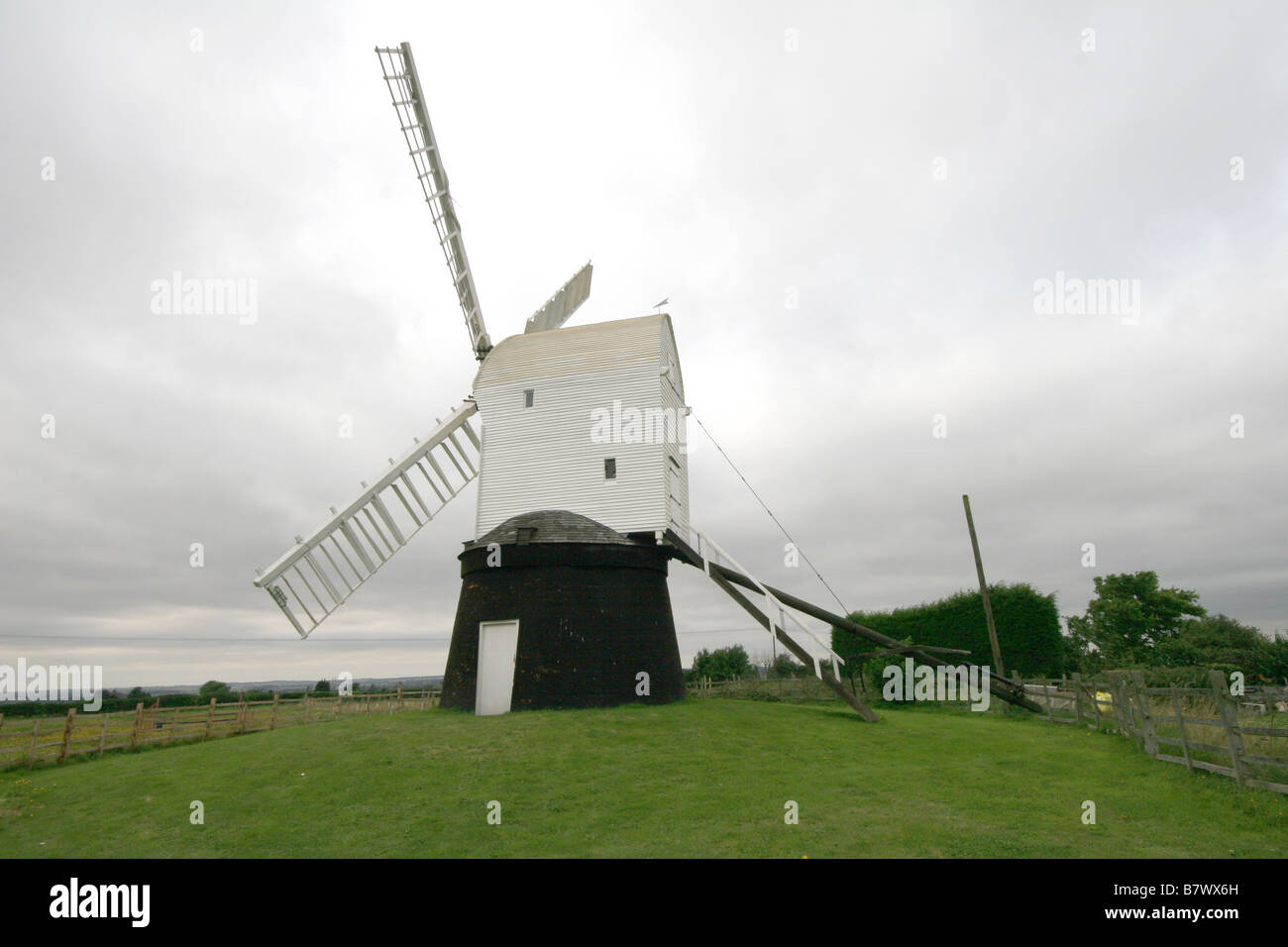 Wrawby windmill a wooden sail postmill near Brigg Lincolnshire which rotates on a post to catch the wind - Stock Image