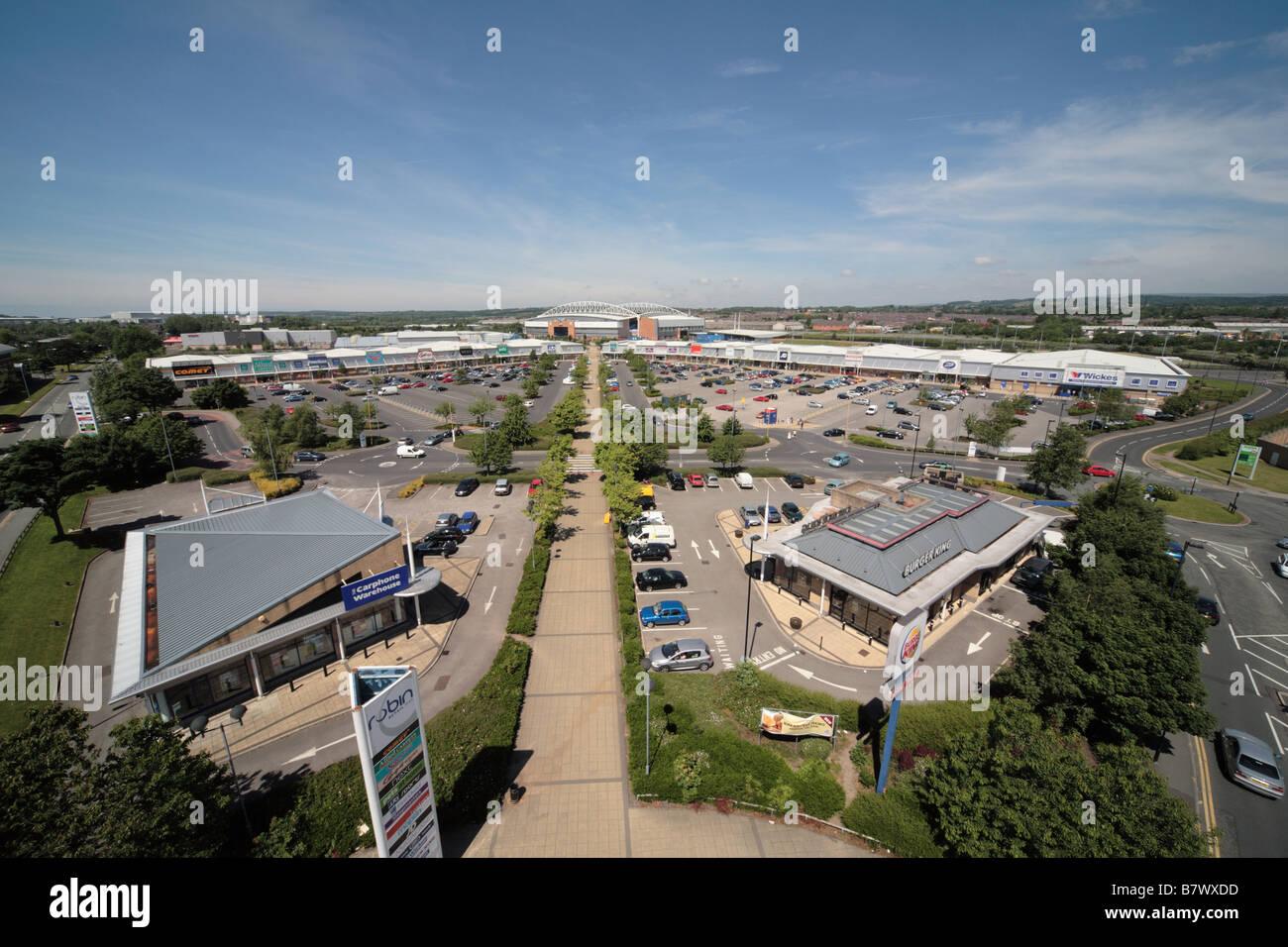 Robin Retail Park, with DW (formerly JJB) Stadium beyond, Wigan - Stock Image
