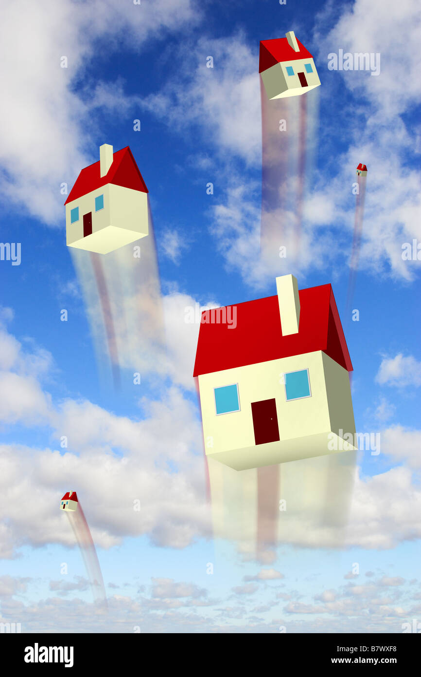 Rising houses against a blue sky representing housing market values going up - digital composite - Stock Image