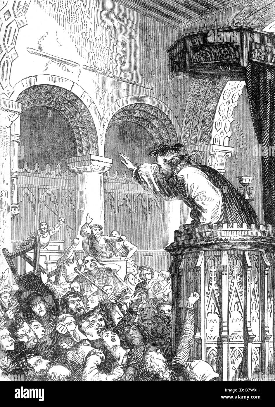 The Affray in St Giles Church Edinburgh on 23 July 1637 by Felix Philippoteaux - Stock Image