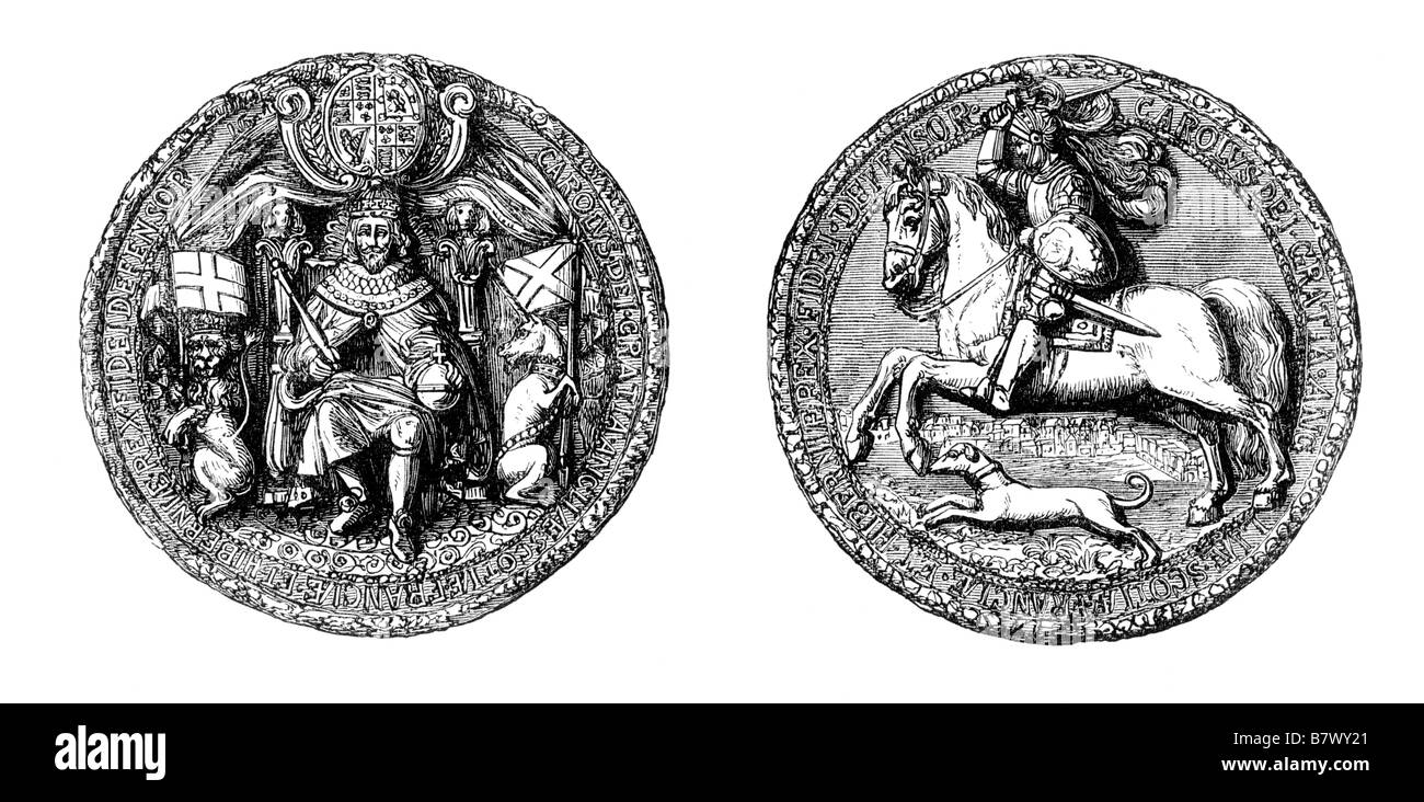 Seal of King Charles I of England - Stock Image