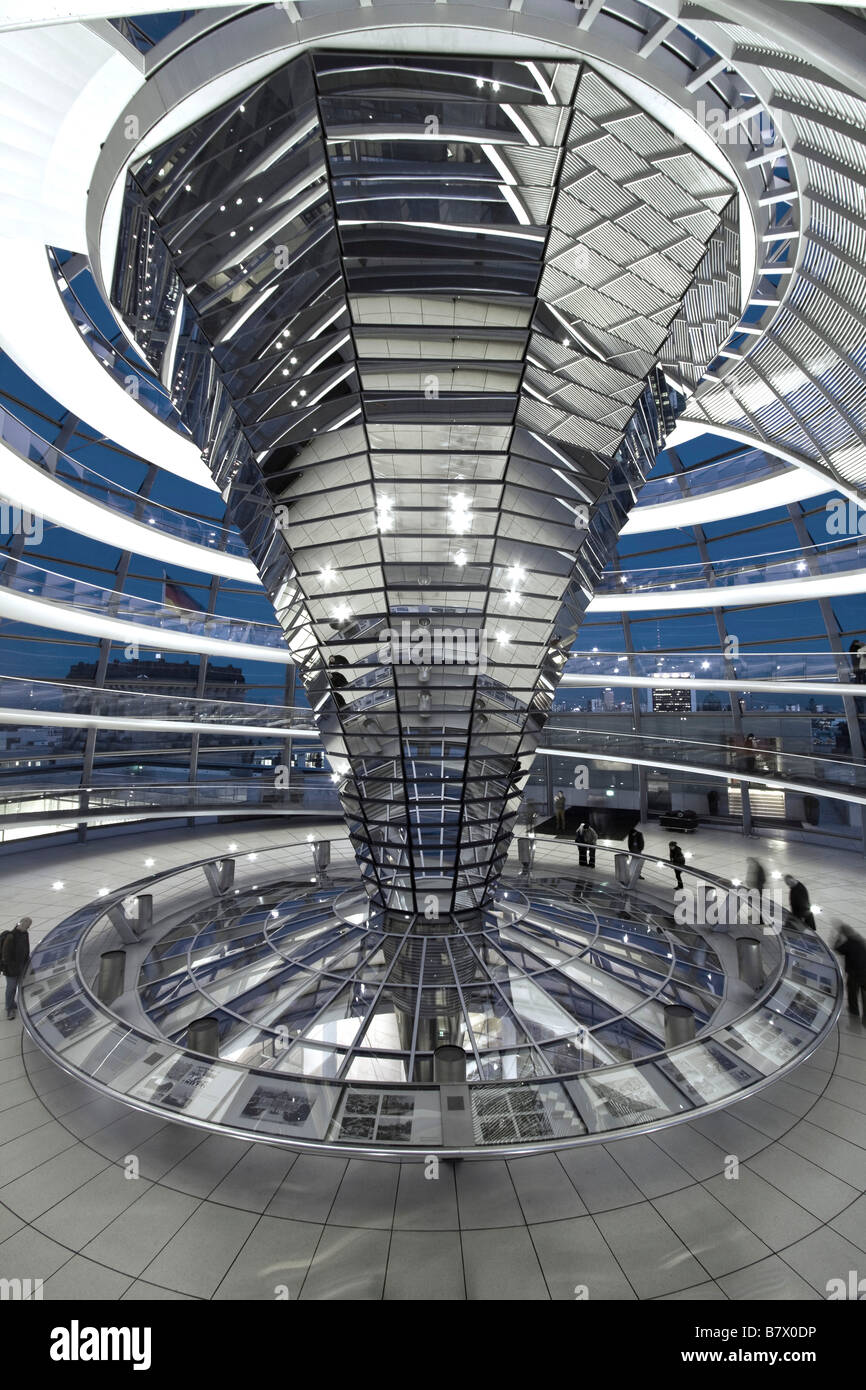 Reichstag cupola by Sir Norman Forster at twilight group of people Berlin Stock Photo