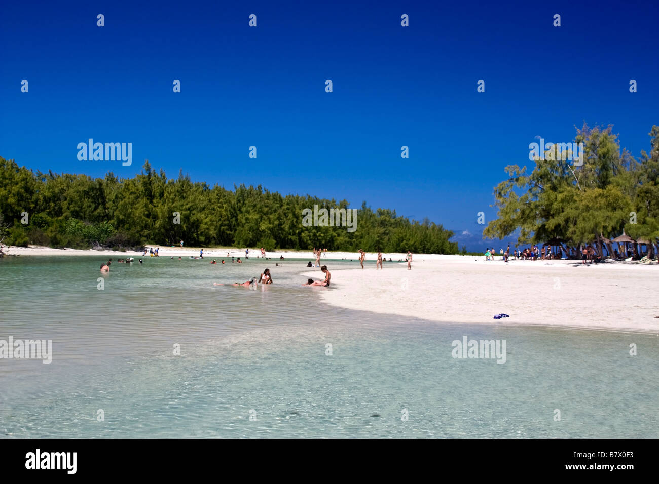 Ile aux Cerf Lagoon dream beach people Mauritius Indian Ocean Africa - Stock Image
