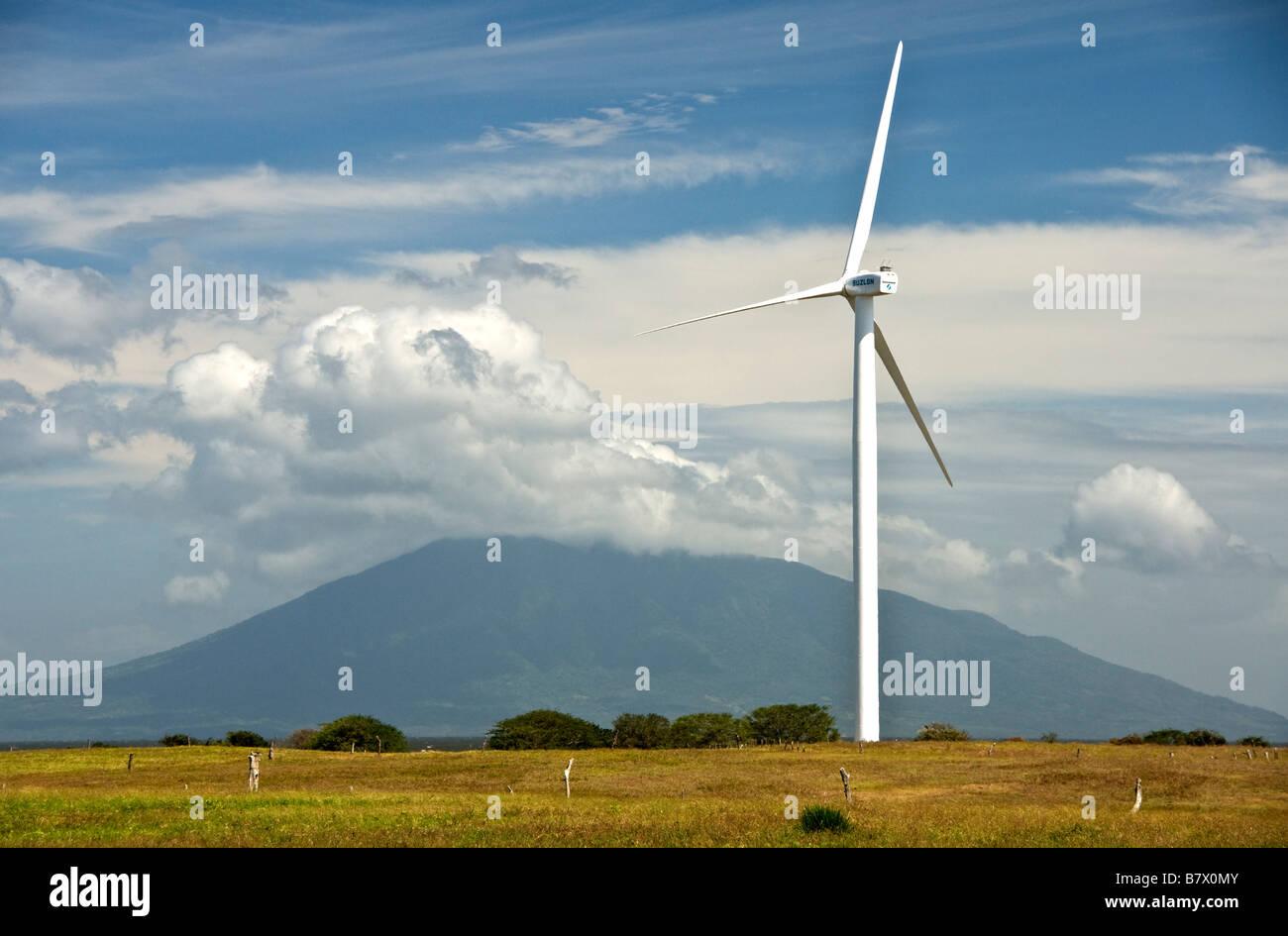 Wind turbine and volcano along Lake Nicaragua - Stock Image
