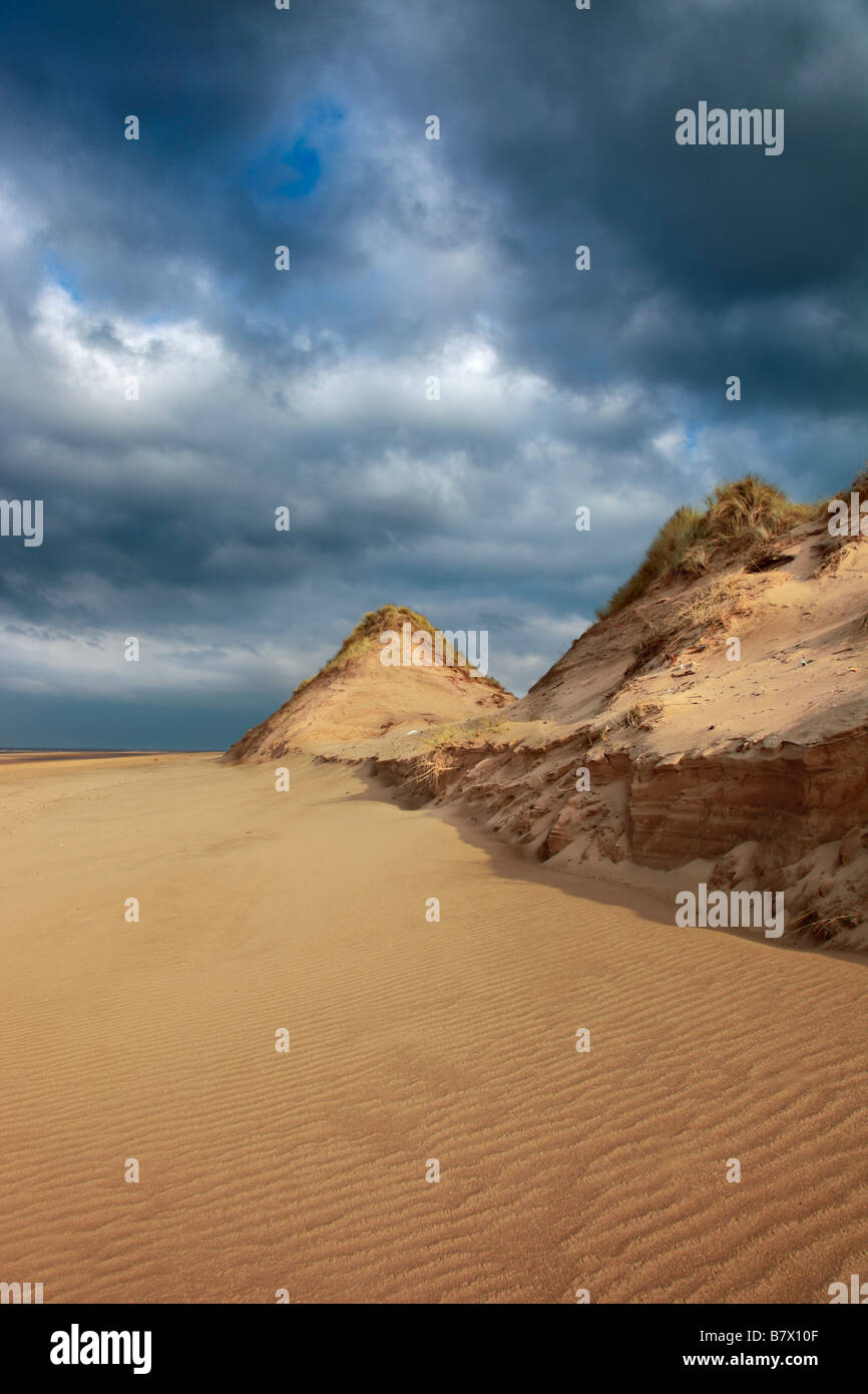 Ainsdale Sand Dunes National Nature Reserve NNR showing erosion of frontal dunes - Stock Image