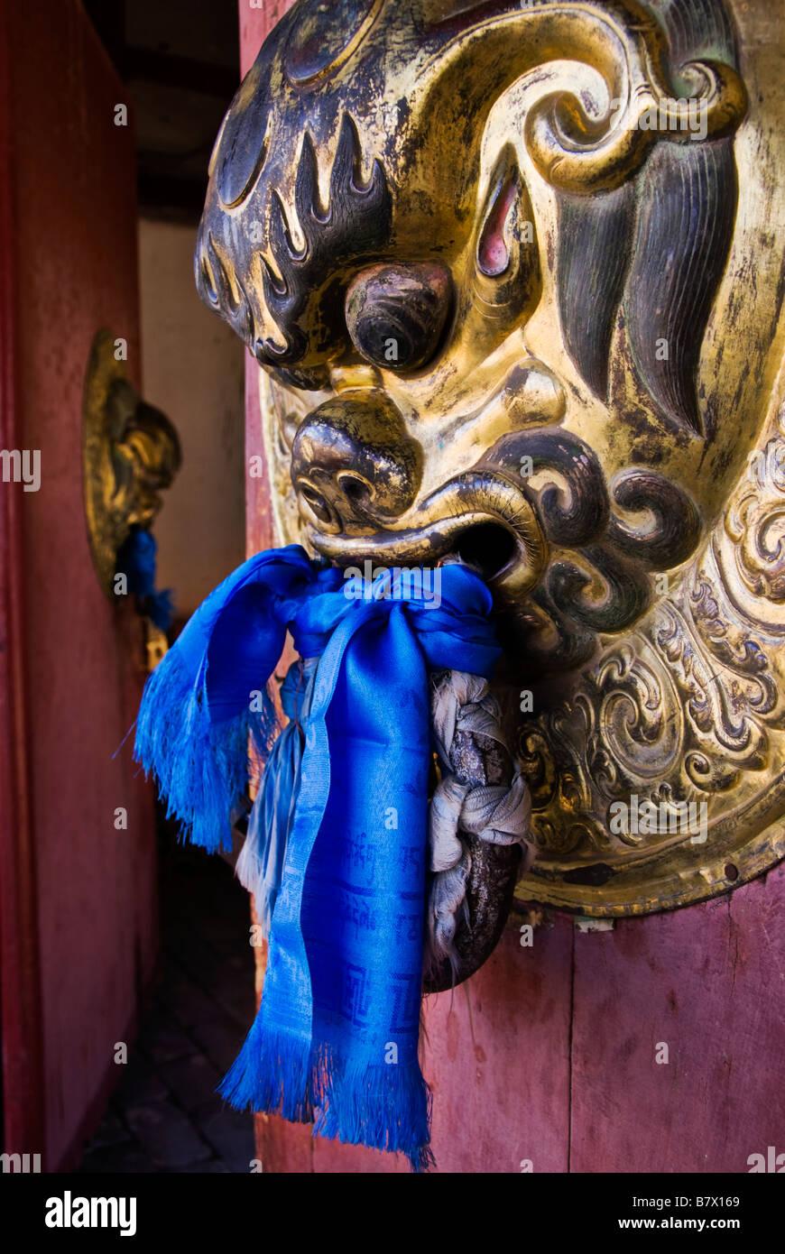 Door handle at Erdene Zuu Khiid monastery Kharkhorin Karakorum Mongolia - Stock Image