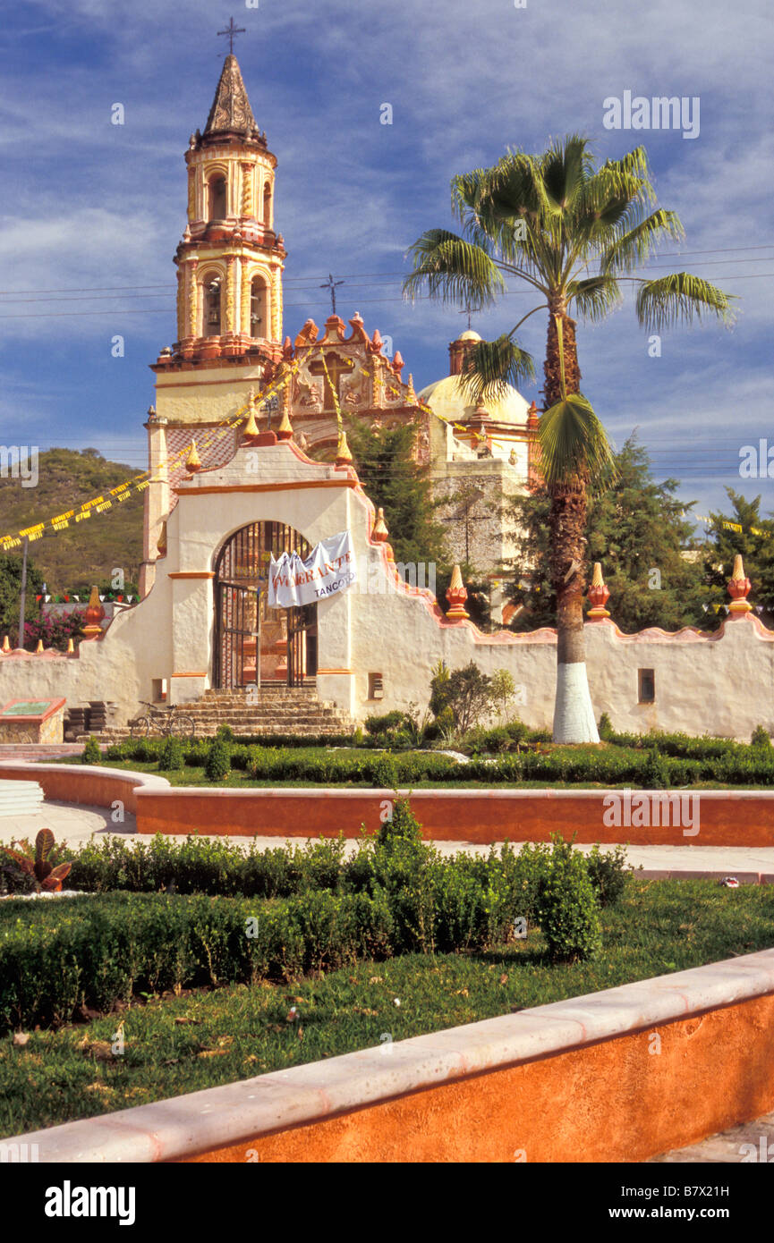 Facade of Mission Tancoyol, completed in 1766, in Tancoyol Queretaro Mexico. 1 of 5 missions founded by Fr Junipero - Stock Image