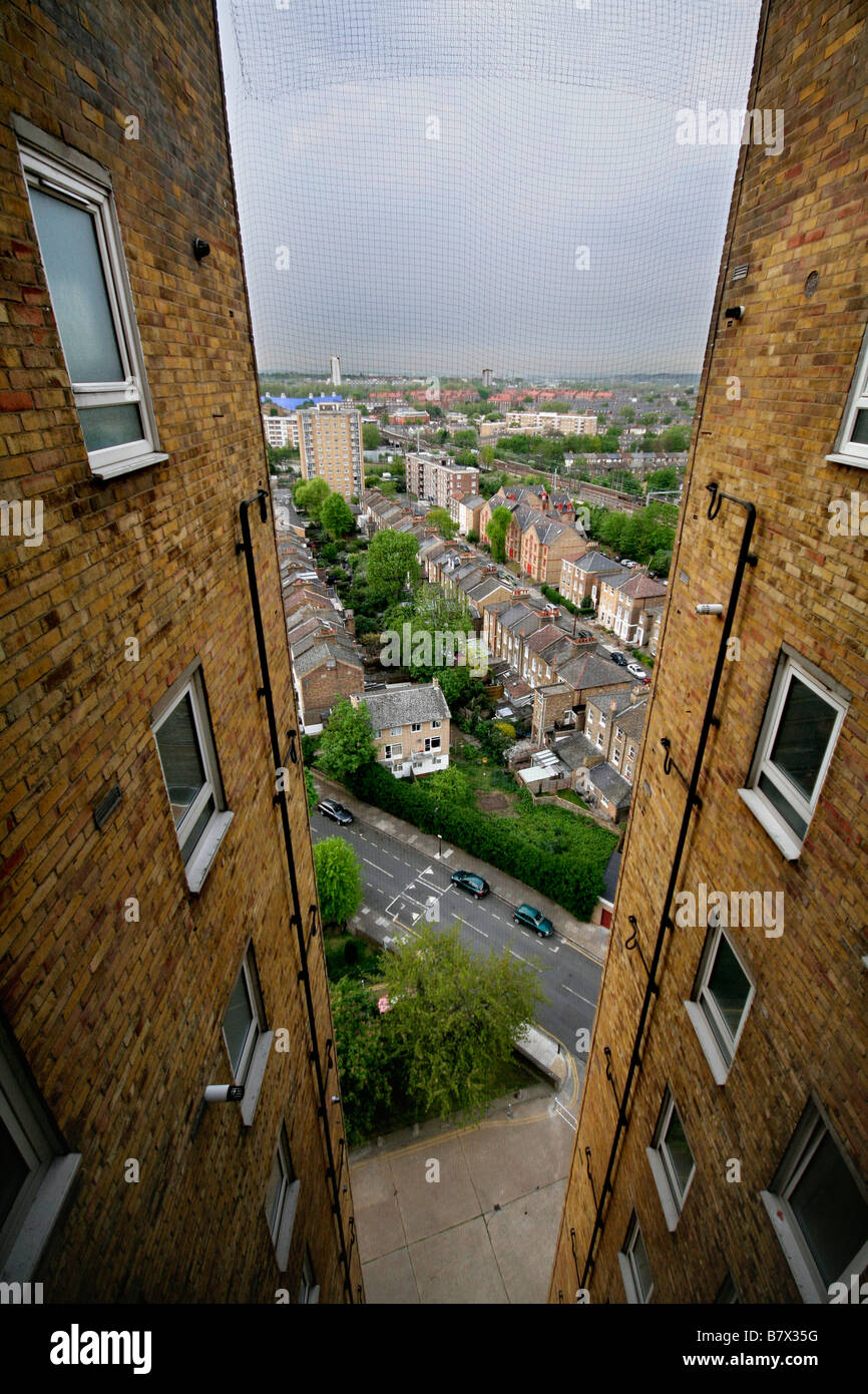 A view from Wayman Court towerblock council housing in Hackney, East London, England - Stock Image