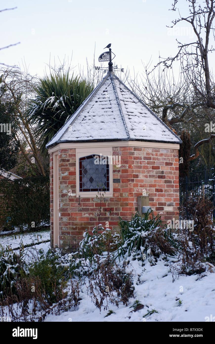 Hill Close Gardens in winter Warwick, Warwickshire, England, UK - Stock Image