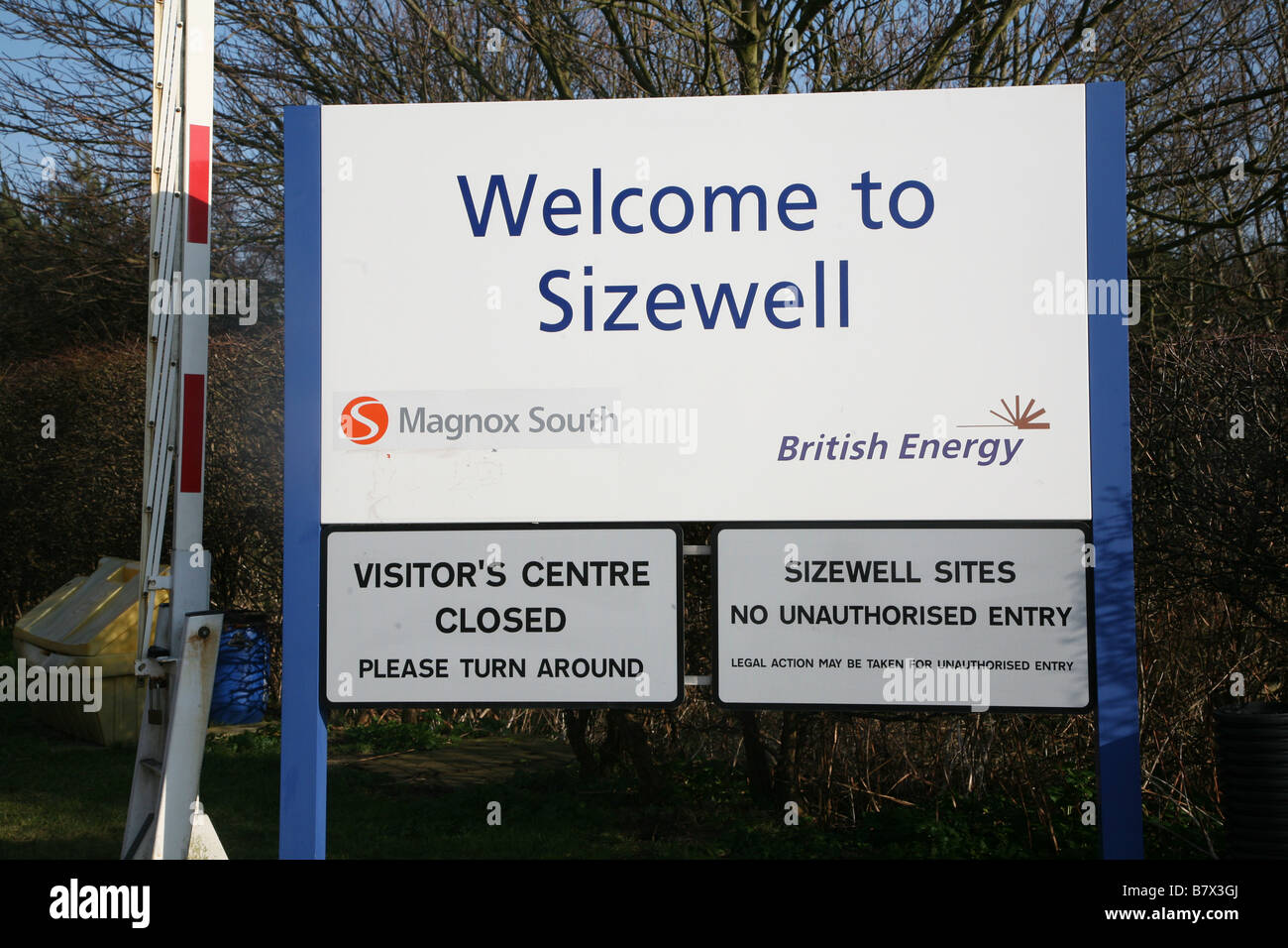Entrance sign Sisewell nuclear power station Suffolk England - Stock Image