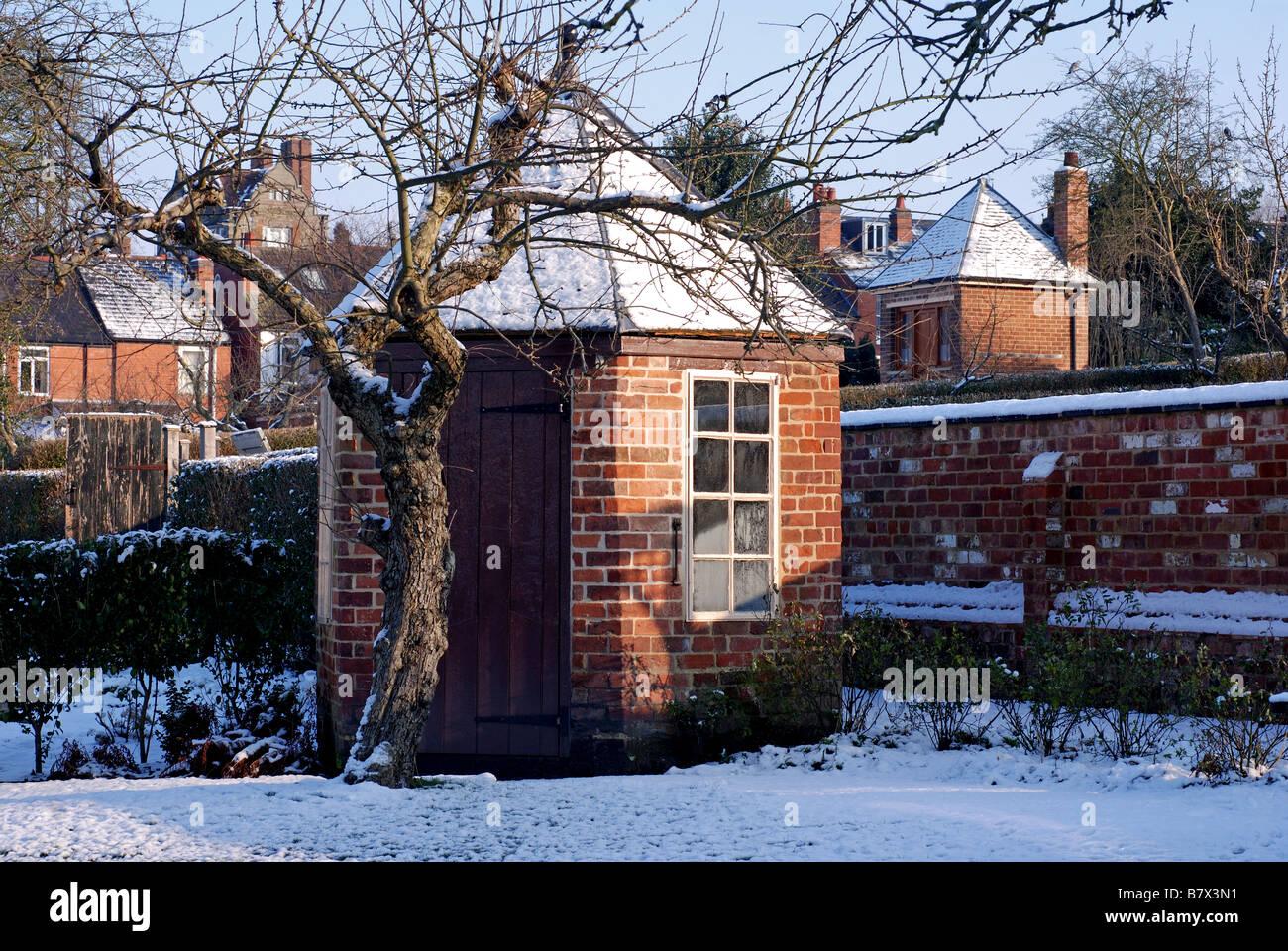 Hill Close Gardens in winter, Warwick, Warwickshire, England, UK - Stock Image