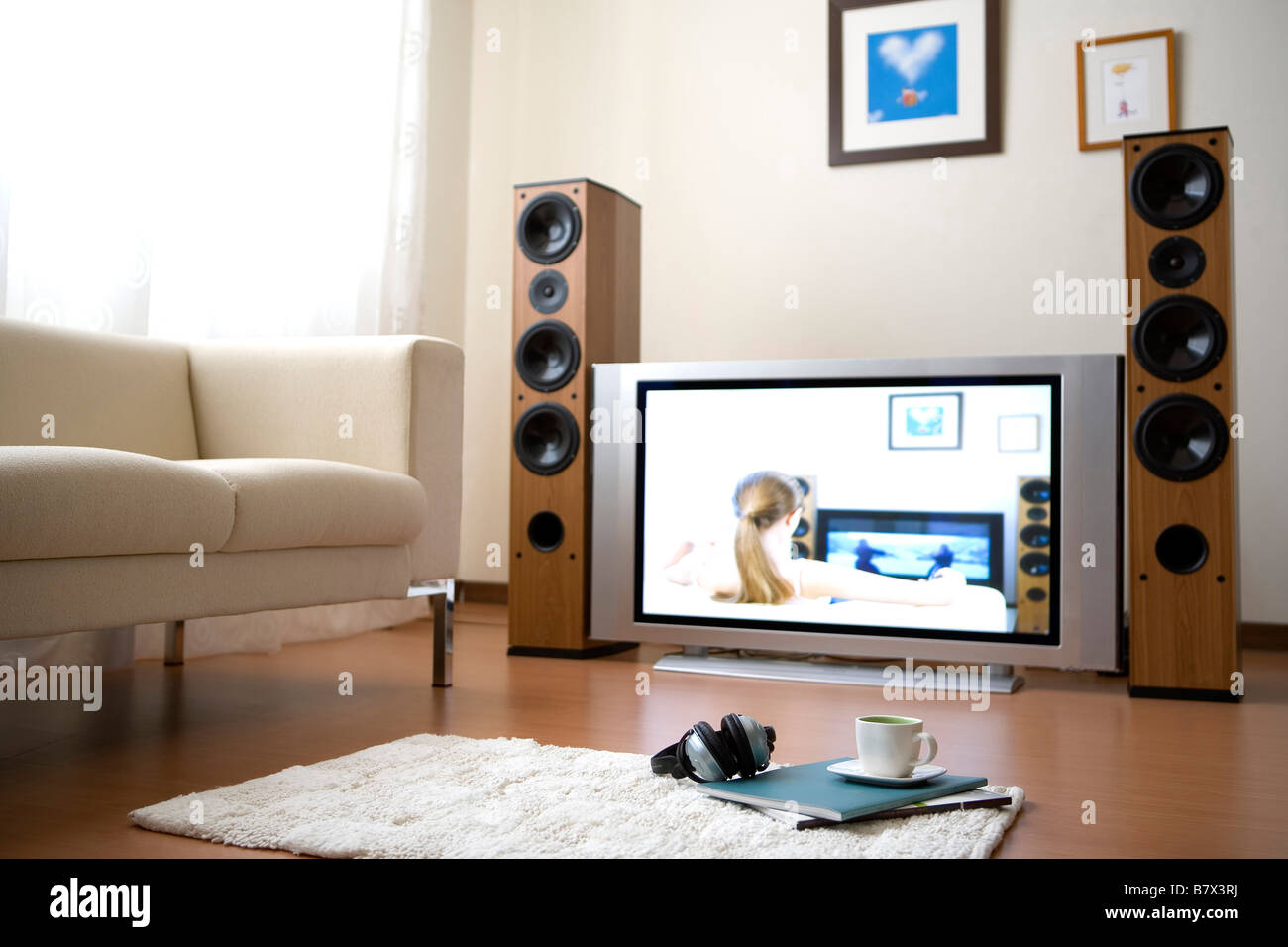 Ground View Of A Living Room With Television On Stock Photo Alamy