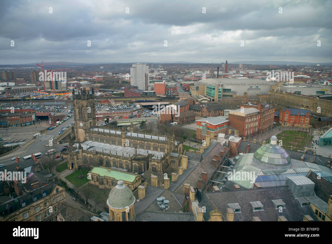 Aerial View Of Central Manchester UK Looking North West - Stock Image