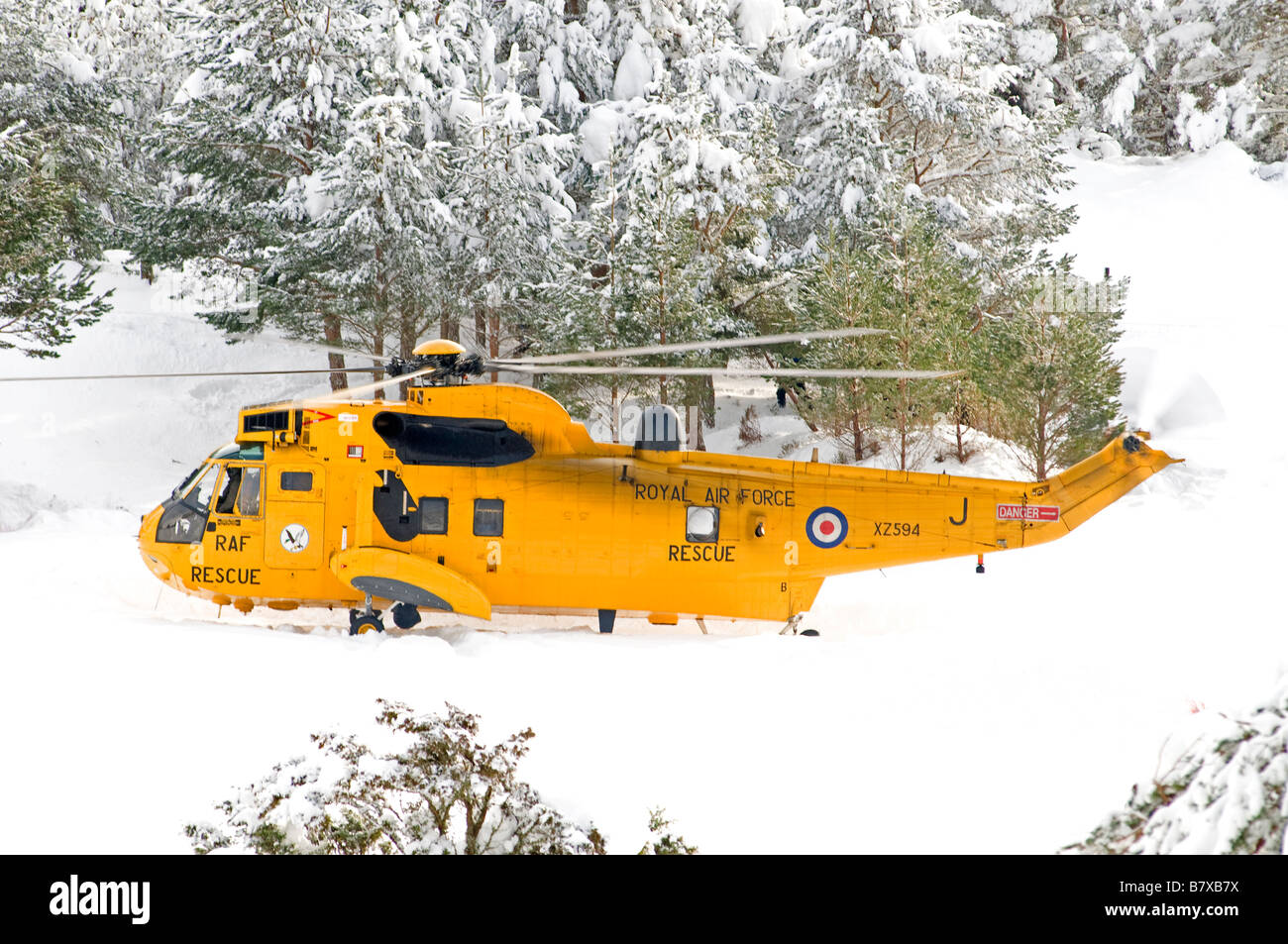 Sea King HAR.3 on a refuelling stop at Glenmore Lodge in the Cairngorms Inverness-shire Scotland UK    SCO 2040 Stock Photo