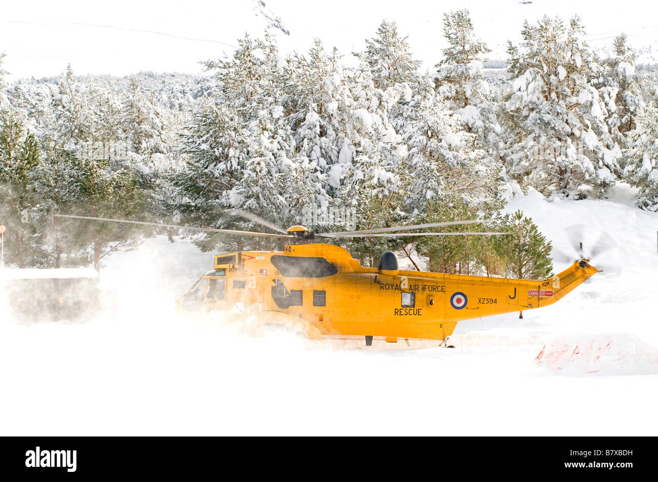 Sea King HAR.3 lifting off from Glenmore Lodge in the Cairngorms Inverness-shire Scotland UK    SCO 2041 Stock Photo