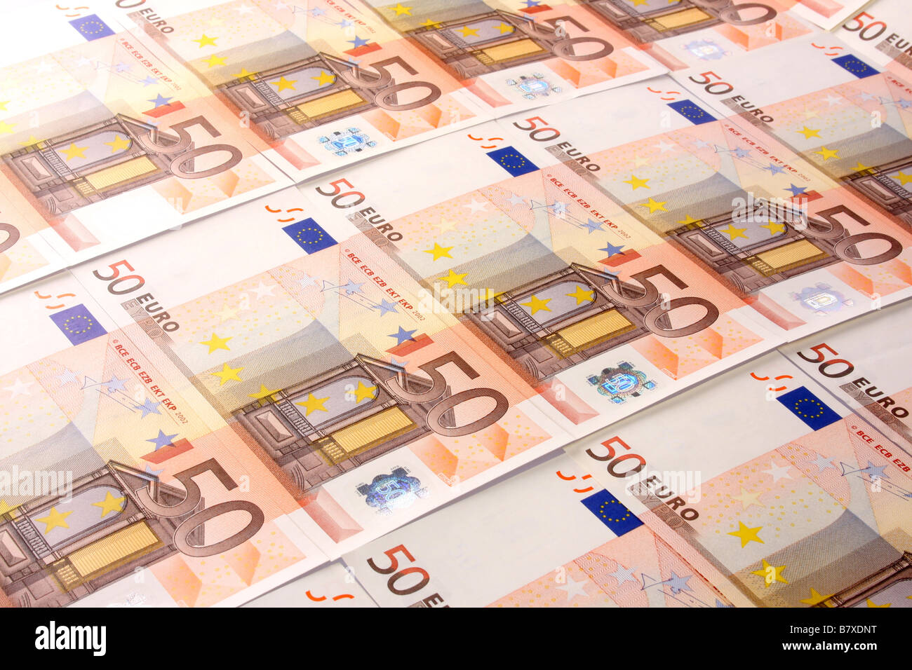 Fifty Euro bank notes. - Stock Image