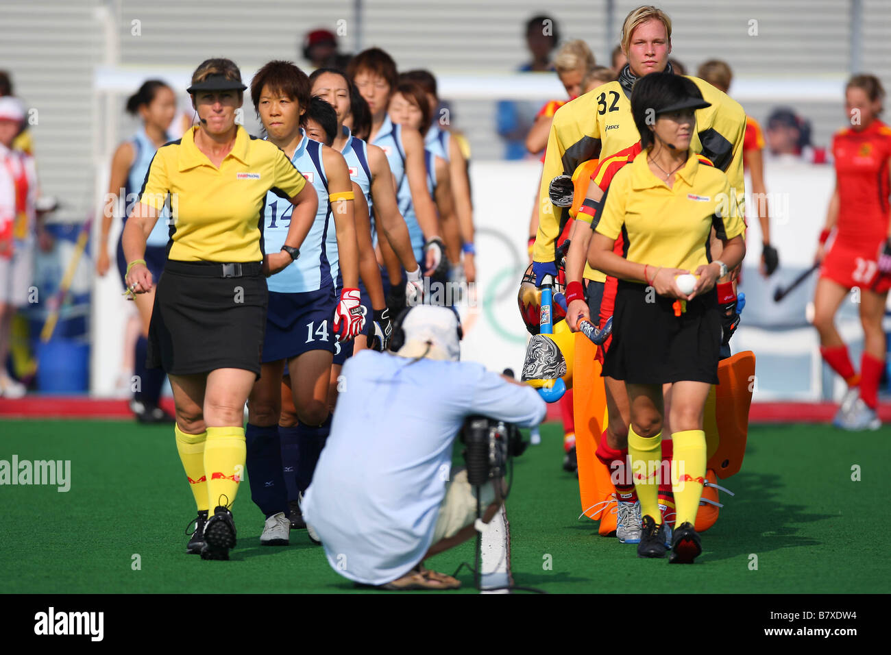 Japan Womens team group JPN AUGUST 18 2008 Hockey Players on the pitch Beijing 2008 Olympic Games Womens Pool WB - Stock Image