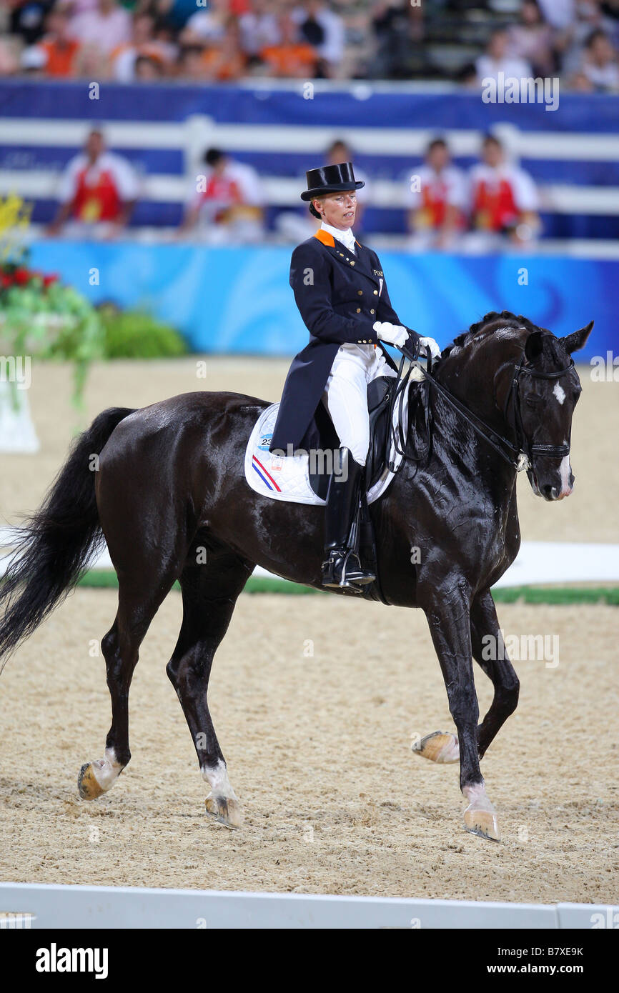 Anky Grunsven NED AUGUST 19 2008 Equestrian Beijing 2008 Summer Olympic Games Dressage Grand Prix Freestyle Competition - Stock Image