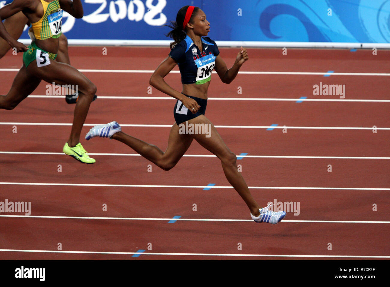 Allyson FELIX JPN August 20 2008 Athletics Womens 200m Semi final during the track and field athletics event at - Stock Image