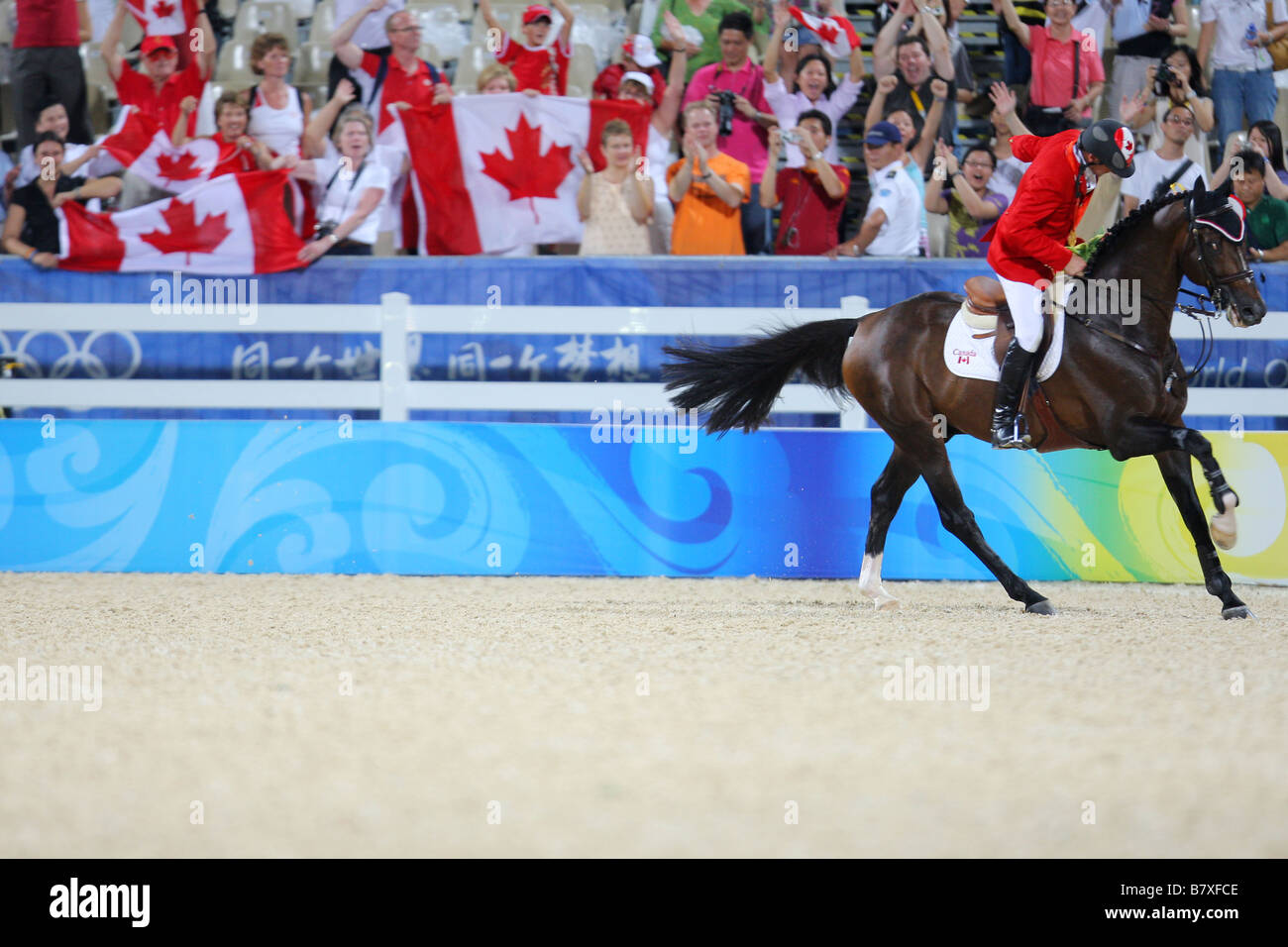 Eric Lamaze CAN August 21 2008 Equestrian Eric Lamaze CAN celebrates during the Beijing 2008 Summer Olympic Games - Stock Image