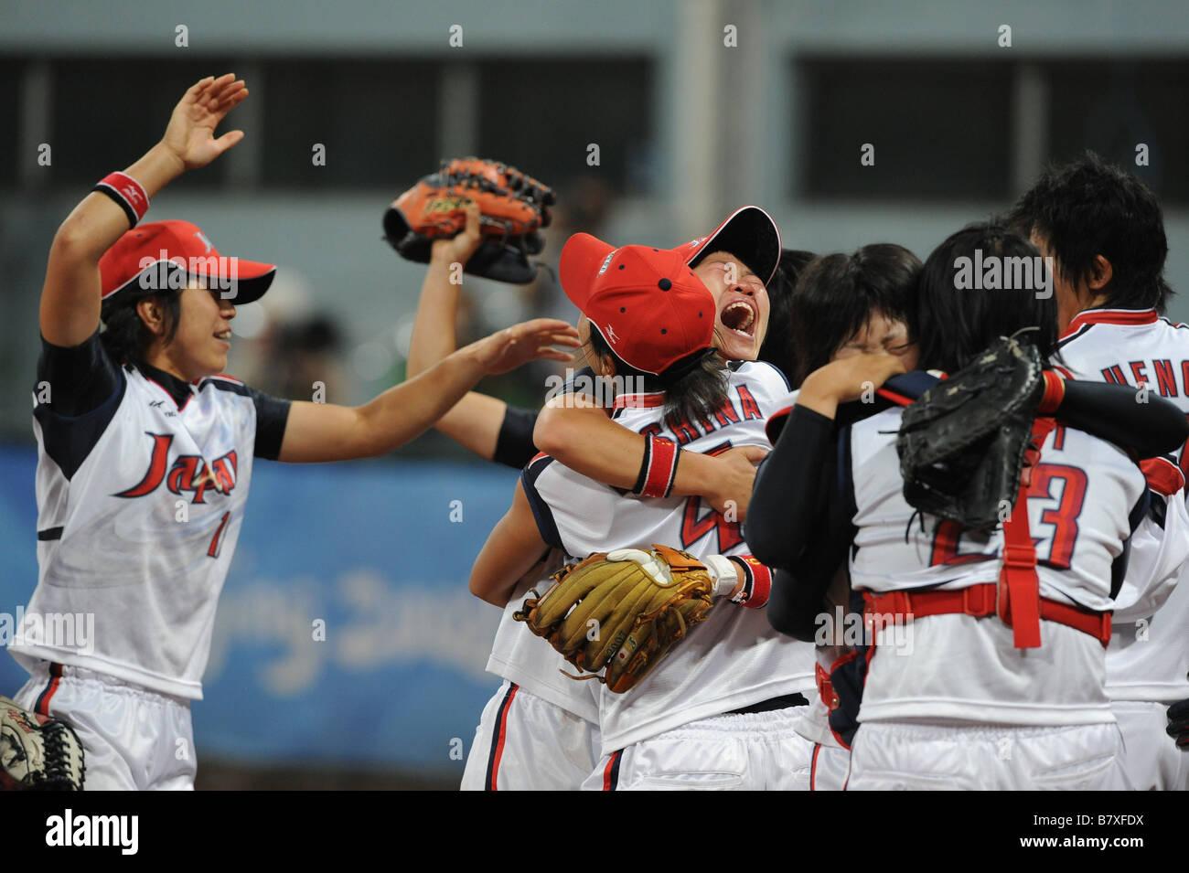 Japan team group JPN AUGUST 21 2008 Softball 2008 Beijing Olympic Games Womens Finals match between Japan 3 1 USA Stock Photo