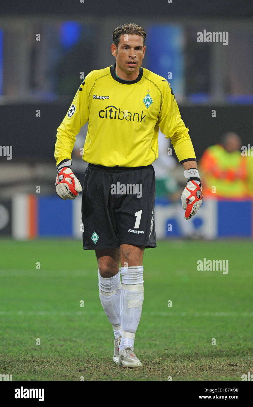 Tim Wiese Bremen OCTOBER 1 2008 Football UEFA Champions League Group B first leg match between Inter Milan and Werder - Stock Image
