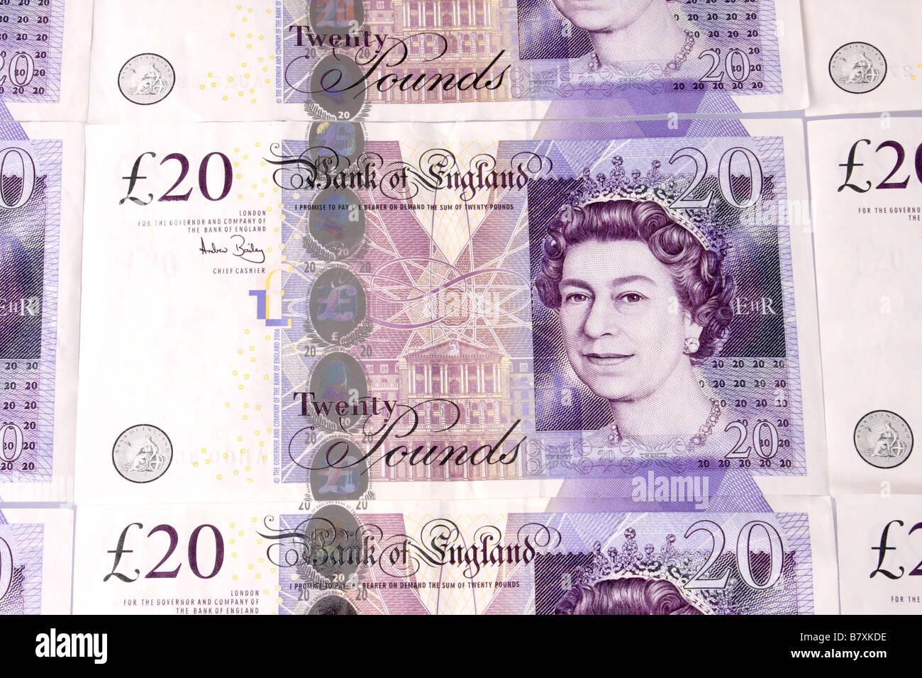 English twenty pound notes. - Stock Image