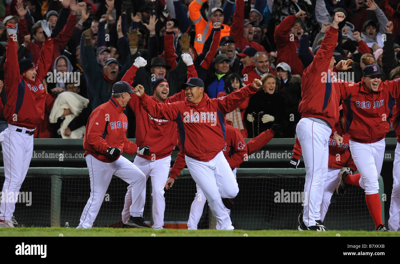 Daisuke Matsuzaka Red Sox Boston Red Sox team group OCTOBER 6 2008 MLB Boston Red Sox players celebrate after winning - Stock Image