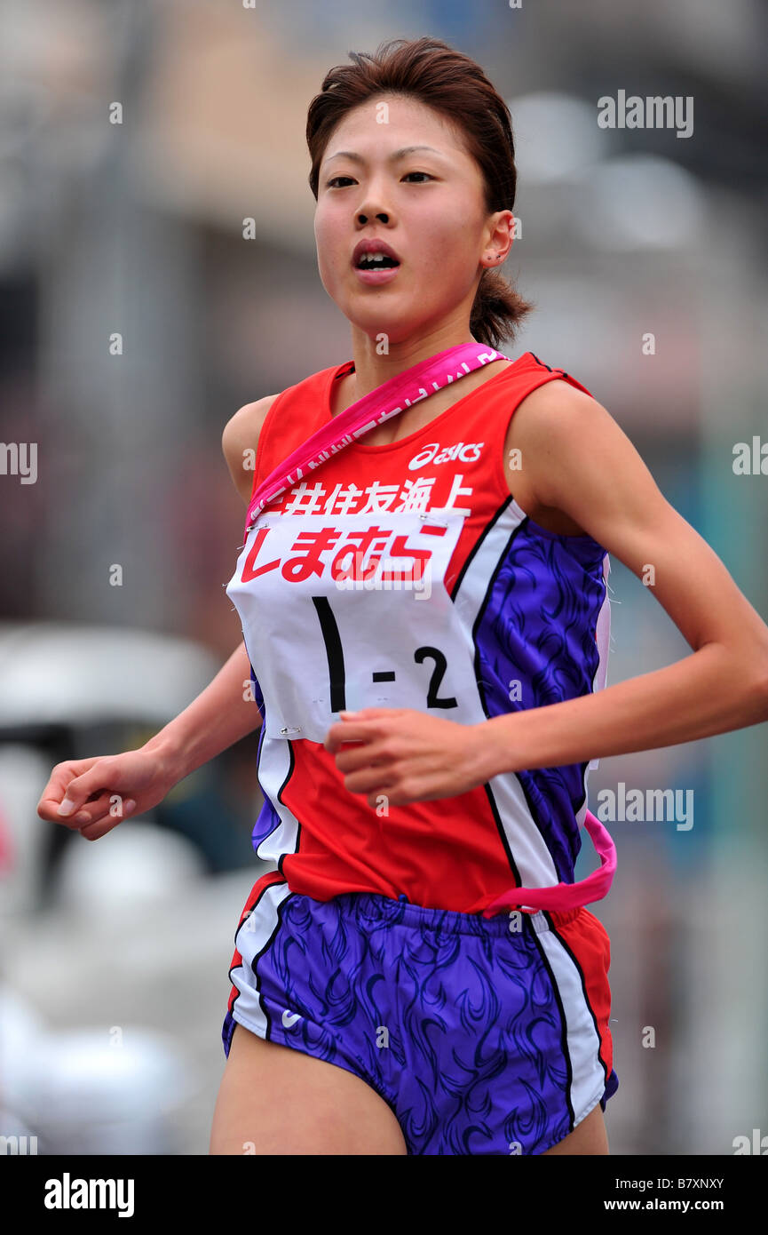 Rie Takayos Mitsuisumitomo NOVEMBER 3 2008 Ekiden East Japan Industrial Womens Ekiden Race in Saitama Japan Photo - Stock Image